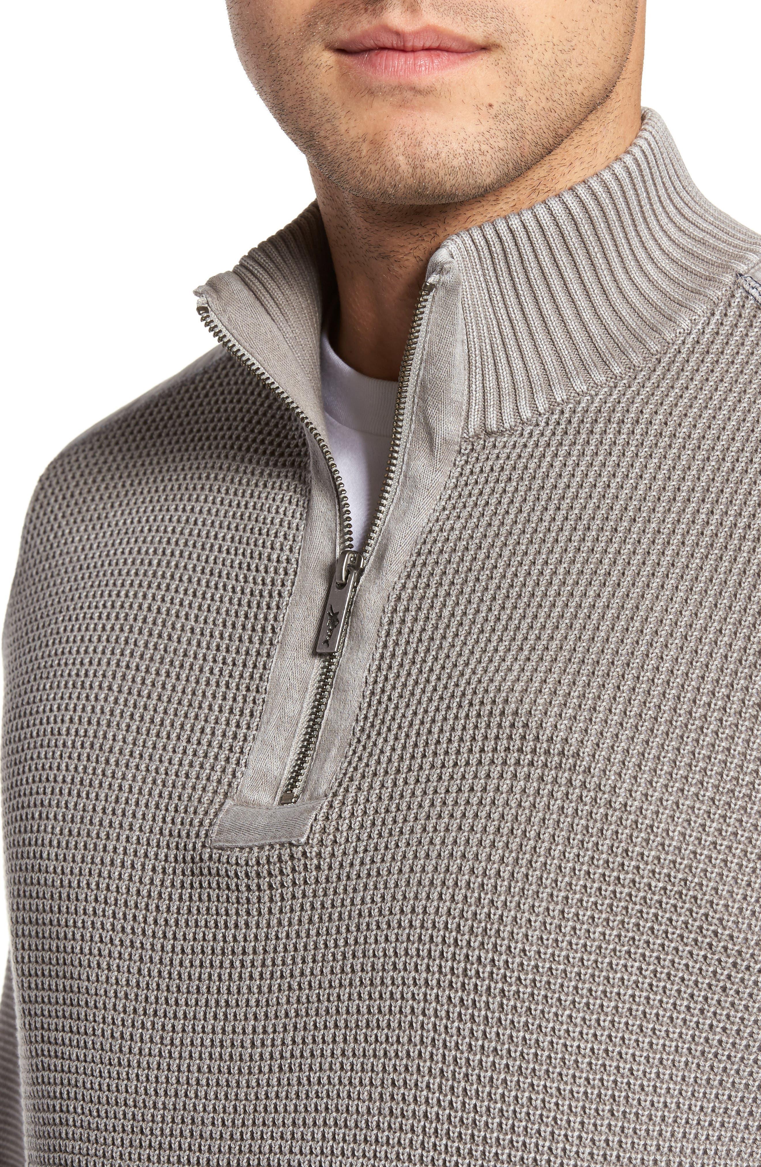 Coastal Shores Quarter Zip Sweater,                             Alternate thumbnail 2, color,                             Pebble Grey