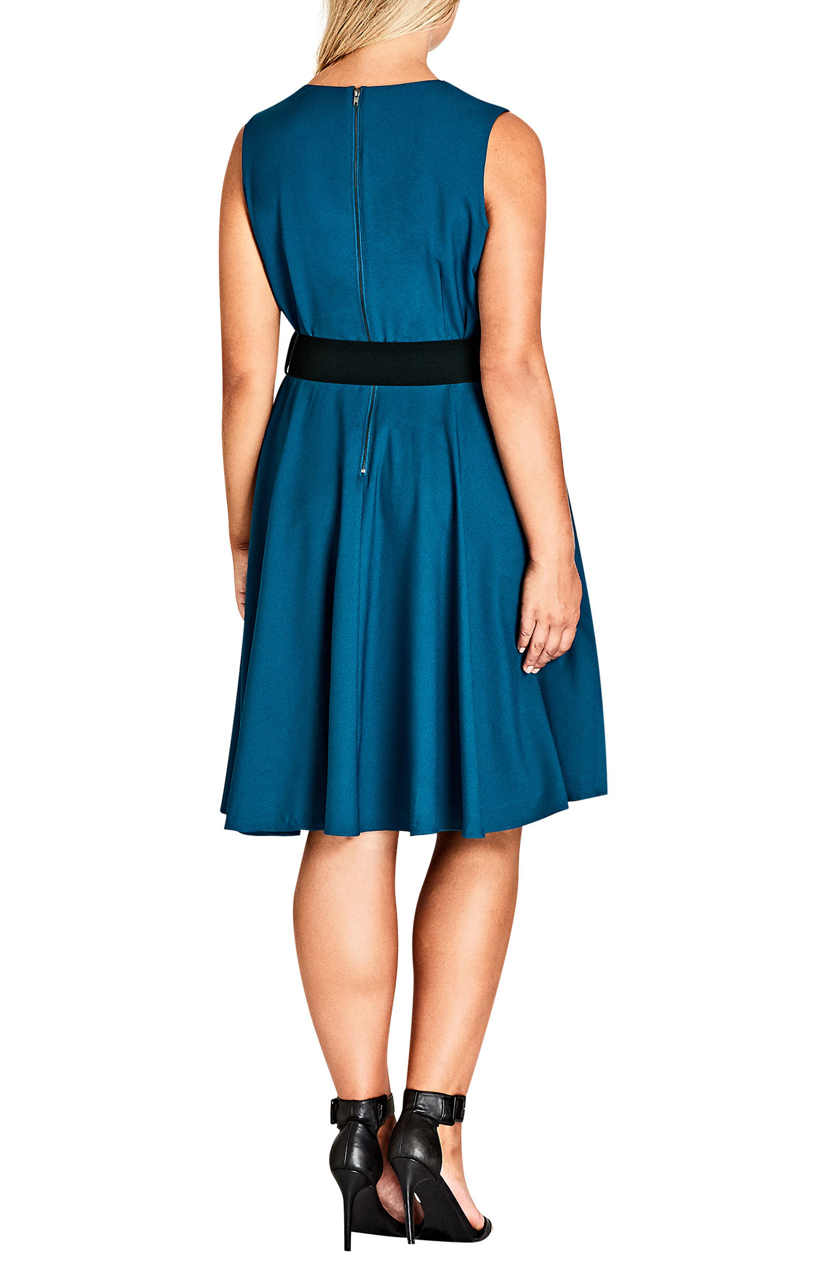 Alternate Image 2  - City Chic Vintage Veronica Belted Pleat Fit & Flare Dress (Plus Size)