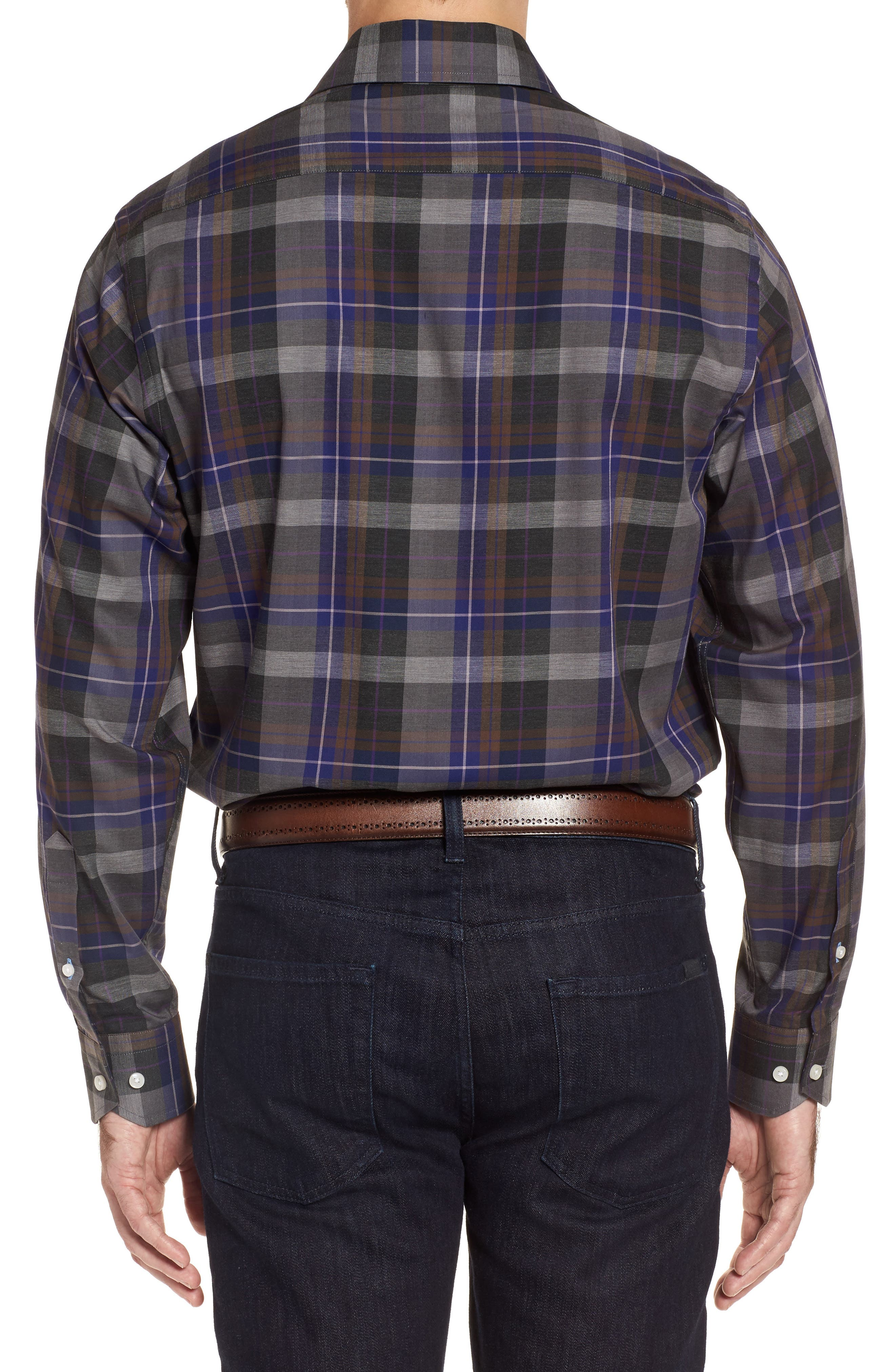 Cullen Plaid Twill Sport Shirt,                             Alternate thumbnail 2, color,                             Blue