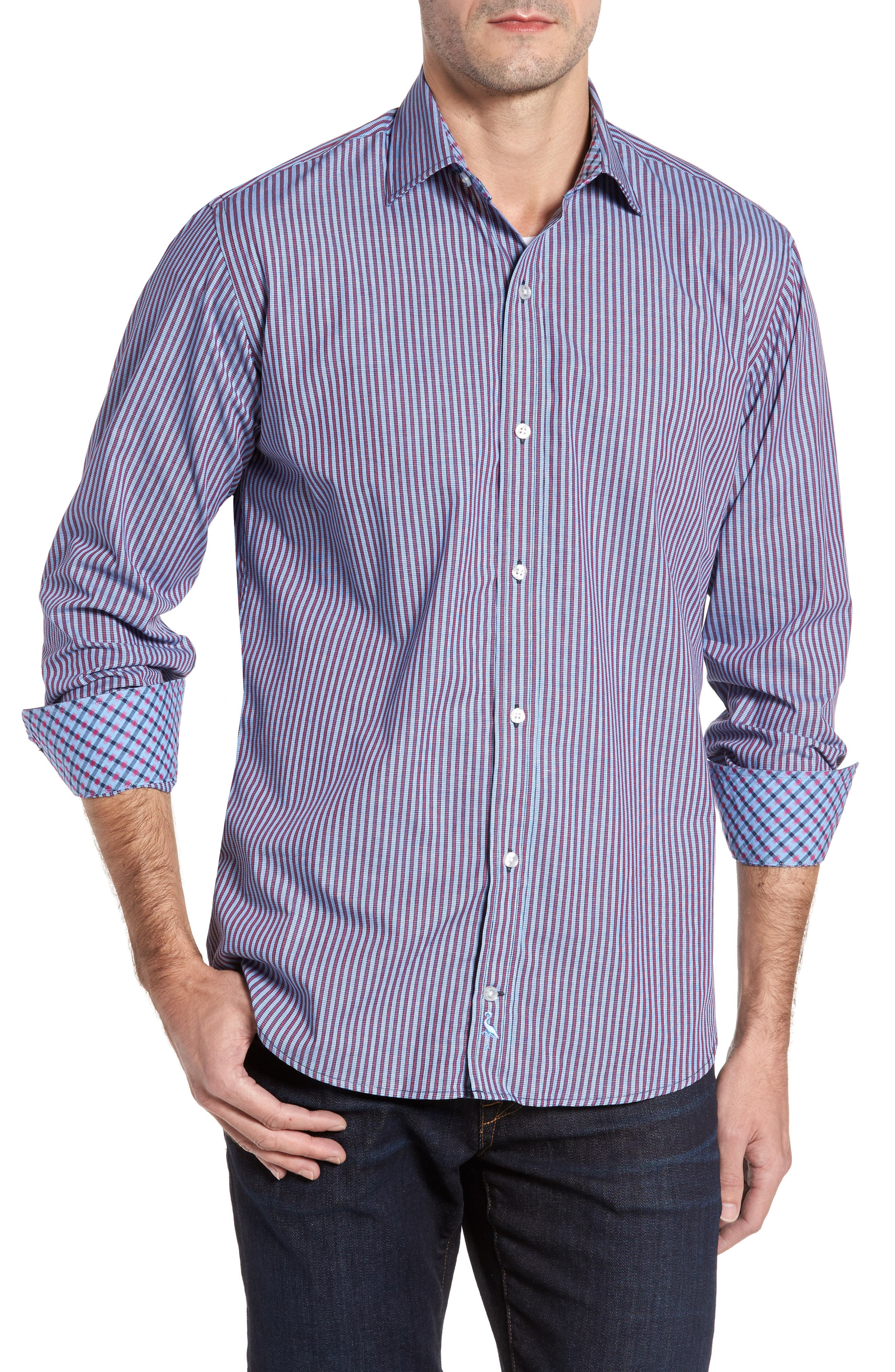 Brownfields Striped Sport Shirt,                             Main thumbnail 1, color,                             Merlot