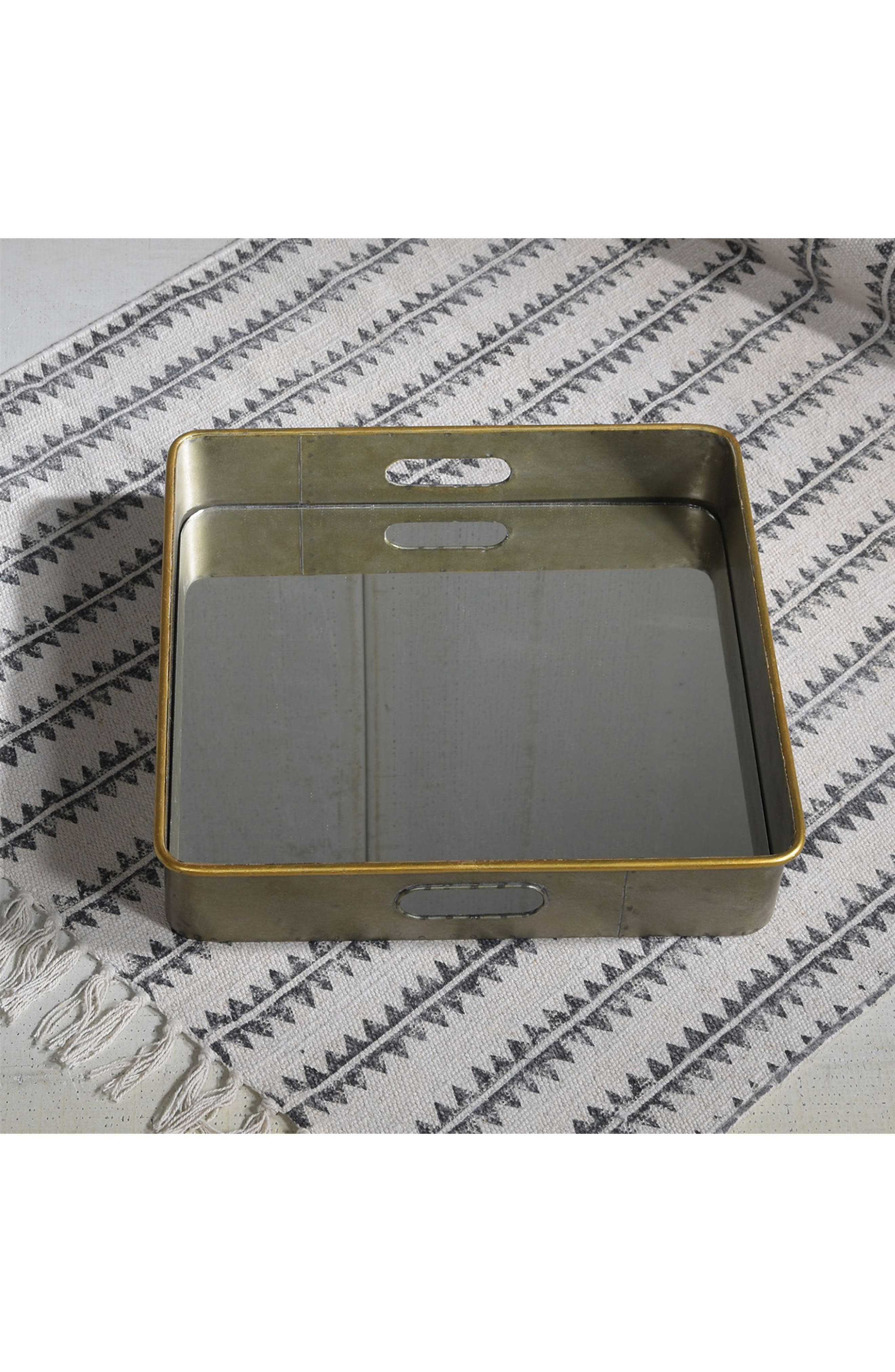 Costa Mirror Tray,                             Alternate thumbnail 3, color,                             Galvanized With Gold Rim