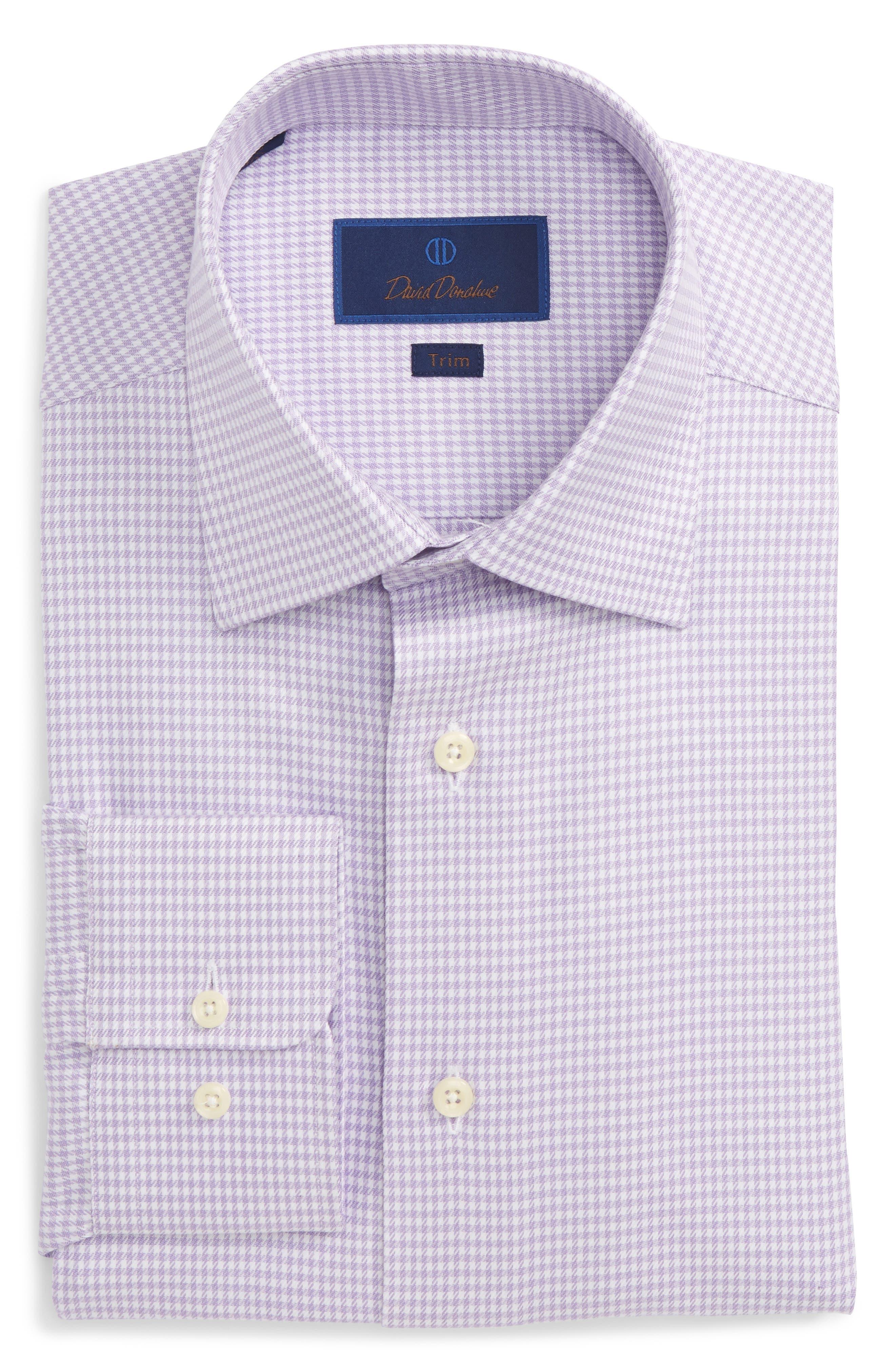 Trim Fit Houndstooth Dress Shirt,                         Main,                         color, Lilac