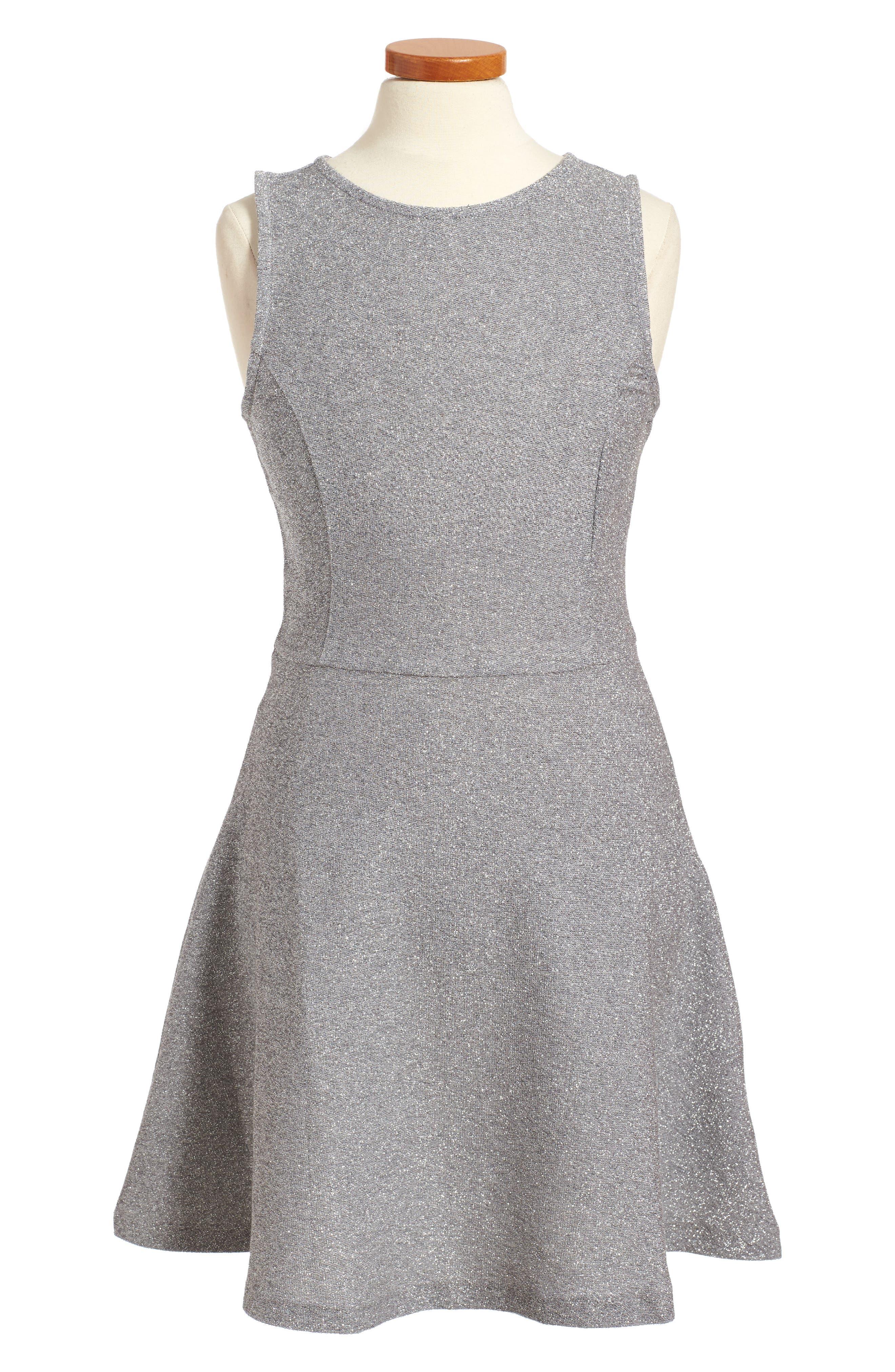Sparkle Skater Dress,                         Main,                         color, Silver