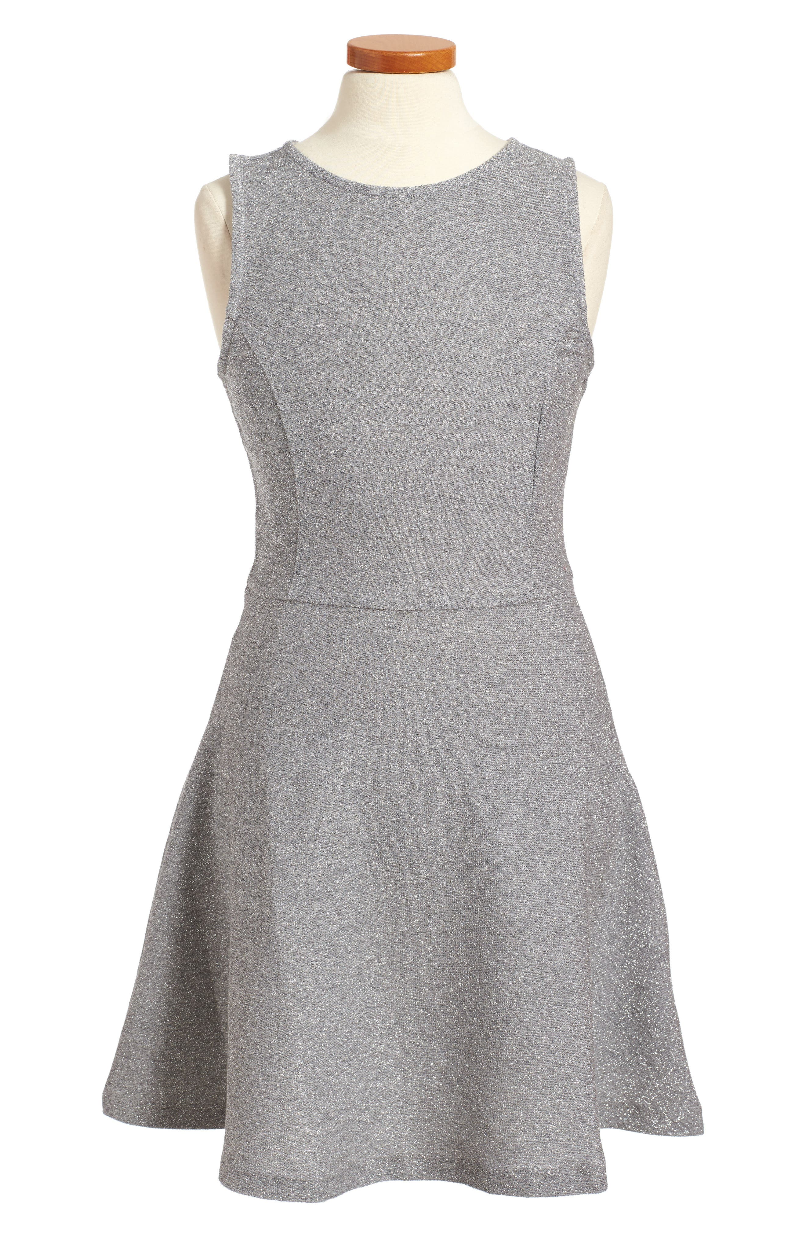 Sparkle Skater Dress,                         Main,                         color, Silver
