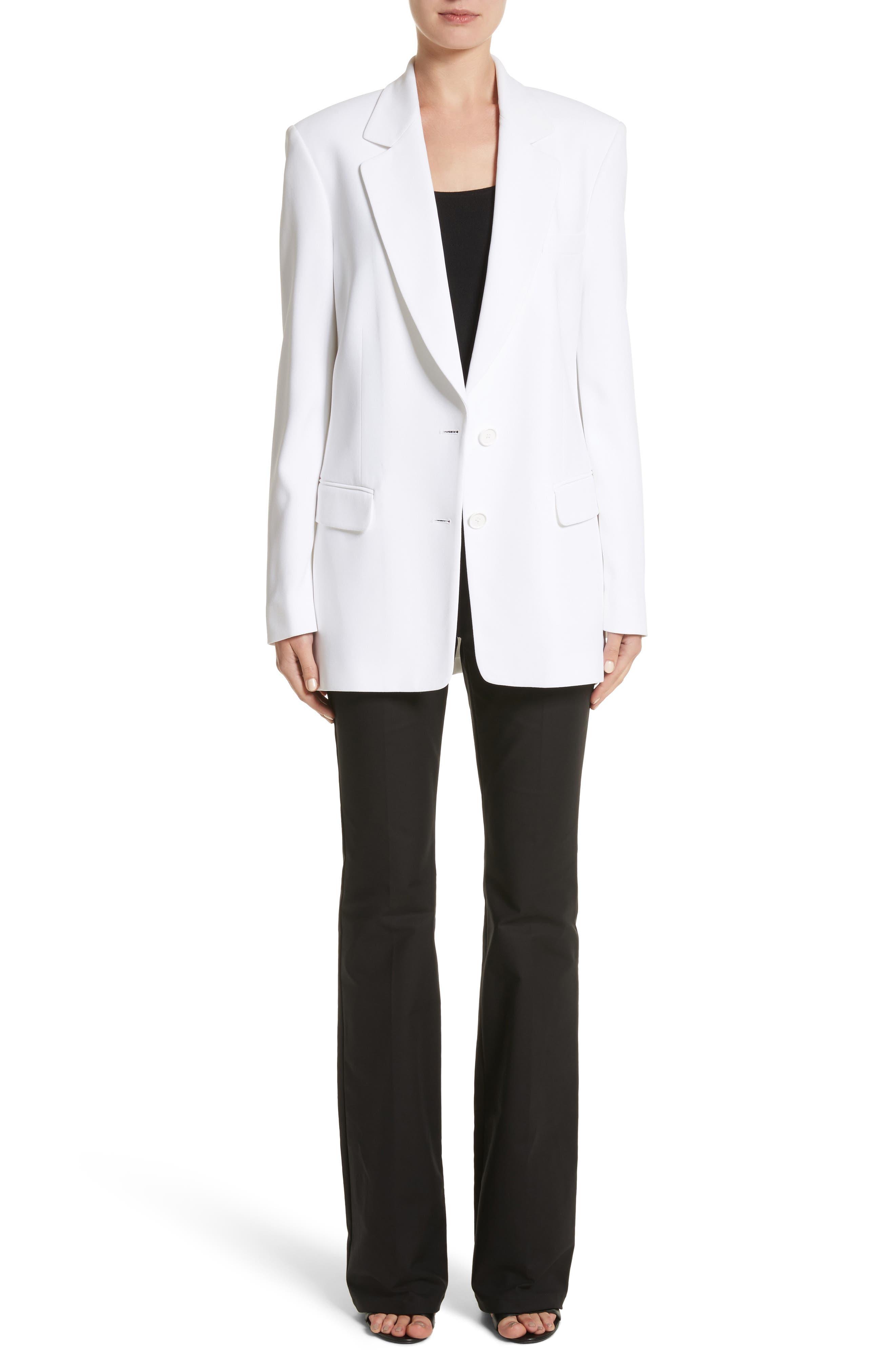 Double Crepe Sable Jacket,                             Alternate thumbnail 8, color,                             Optic White