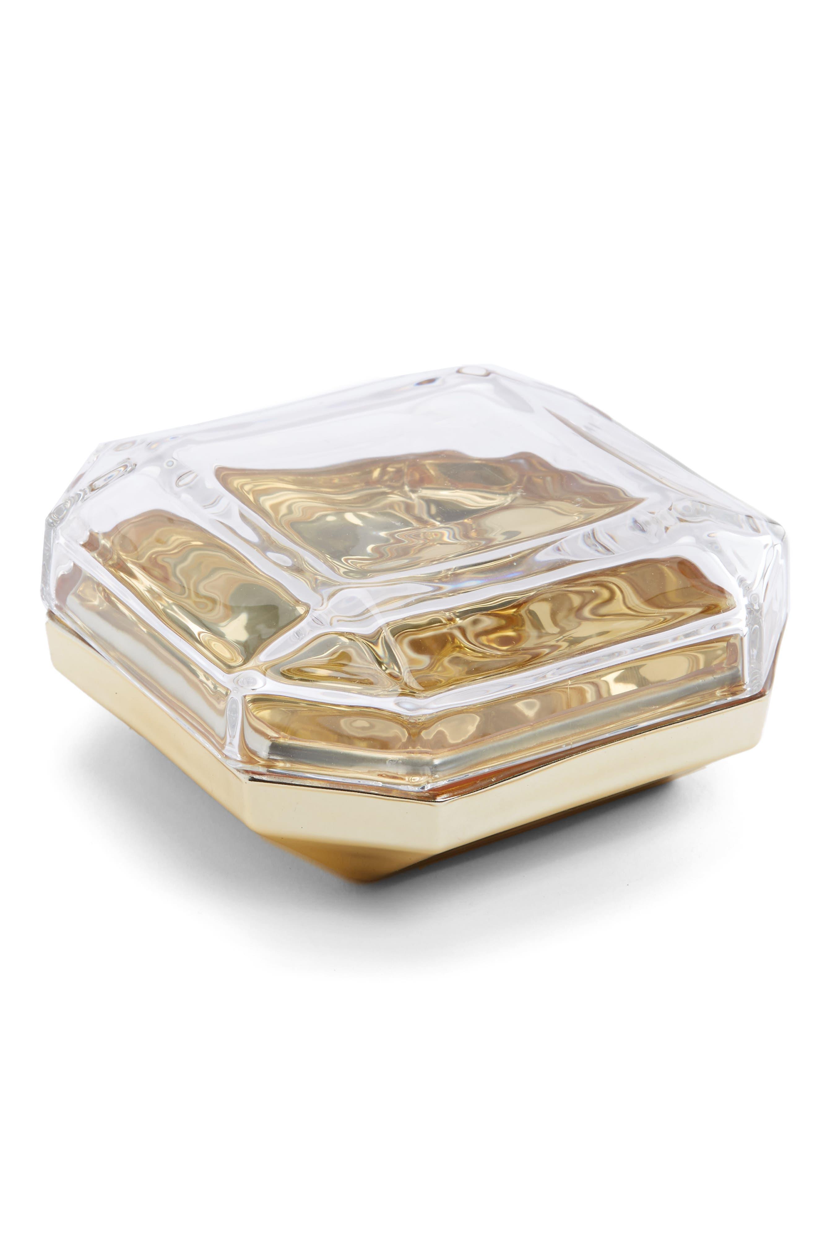 Asscher Lidded Glass Box,                         Main,                         color, Gold/ Clear