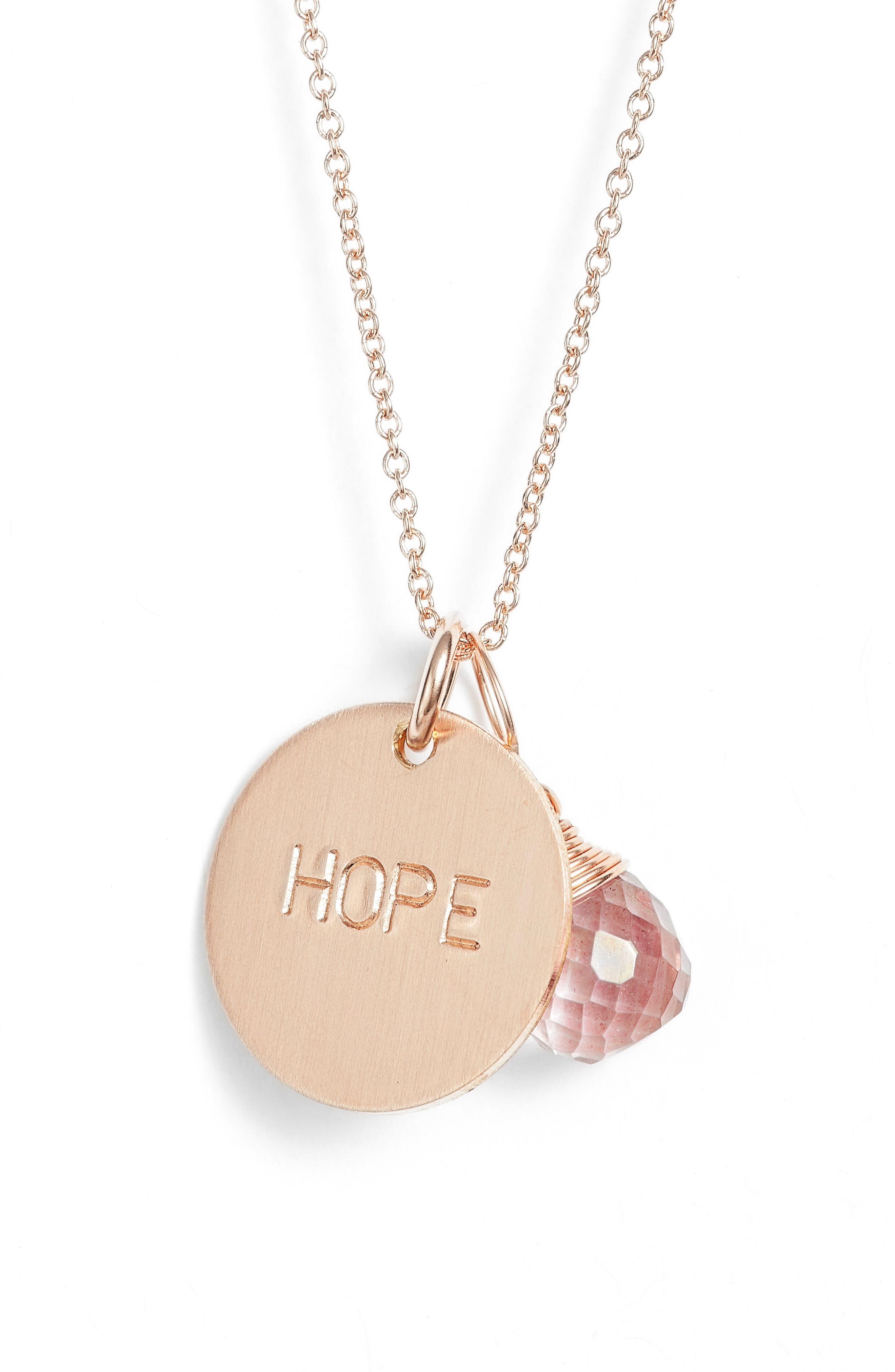 Pink Topaz & Hope Disc Necklace,                             Alternate thumbnail 2, color,                             Rose Gold