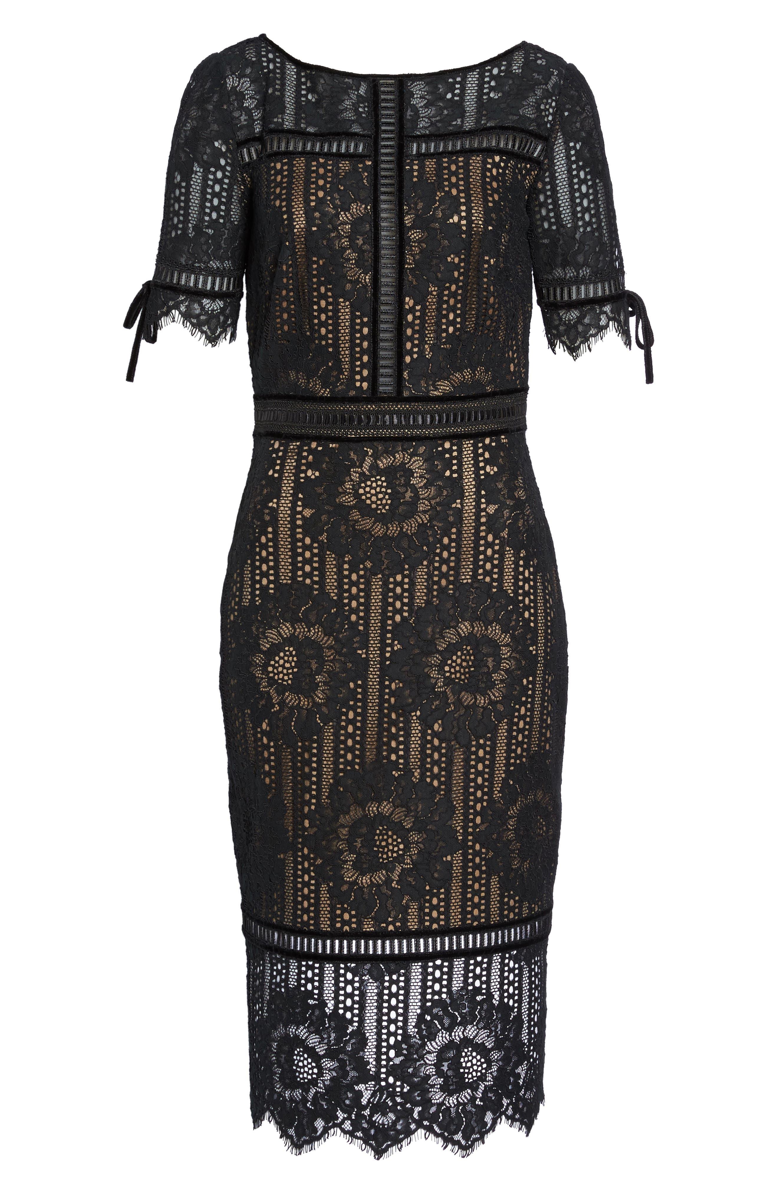 Velvet Trim Lace Sheath Dress,                             Alternate thumbnail 6, color,                             Black/ Nude