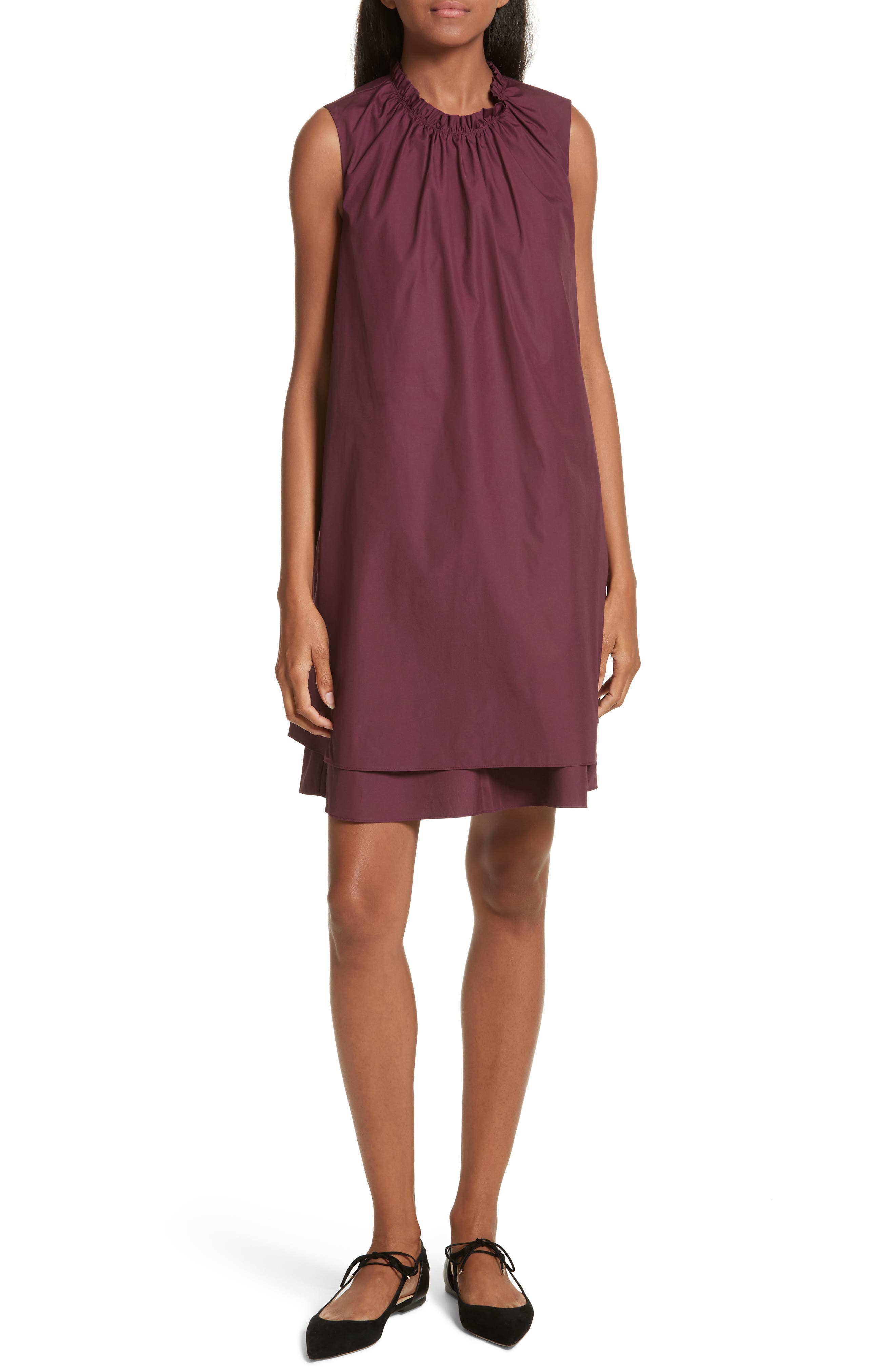 Ezmay Tiered Shift Dress,                         Main,                         color, Maroon