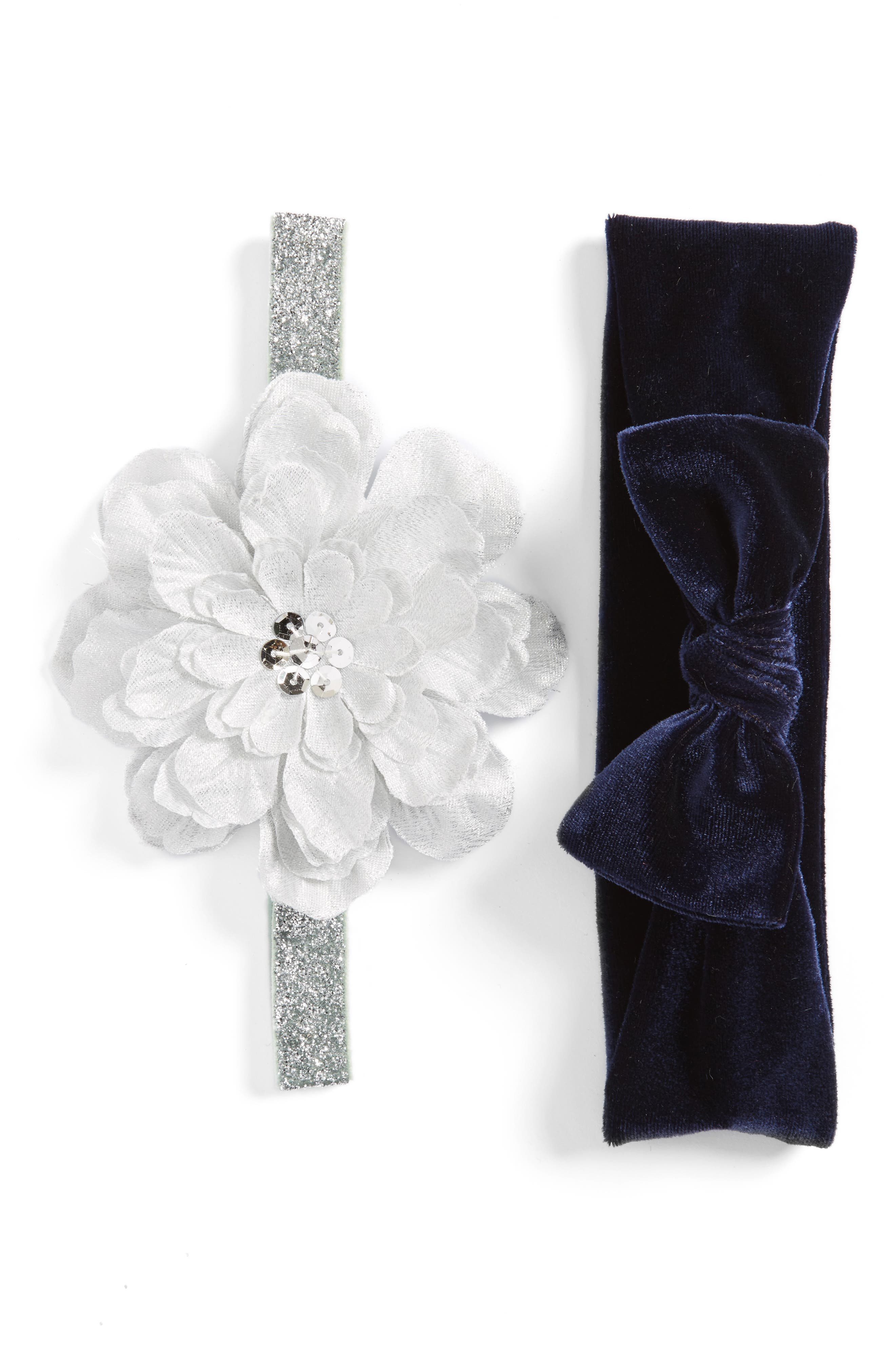 Petal 2-Pack Headbands,                         Main,                         color, Navy/Silver