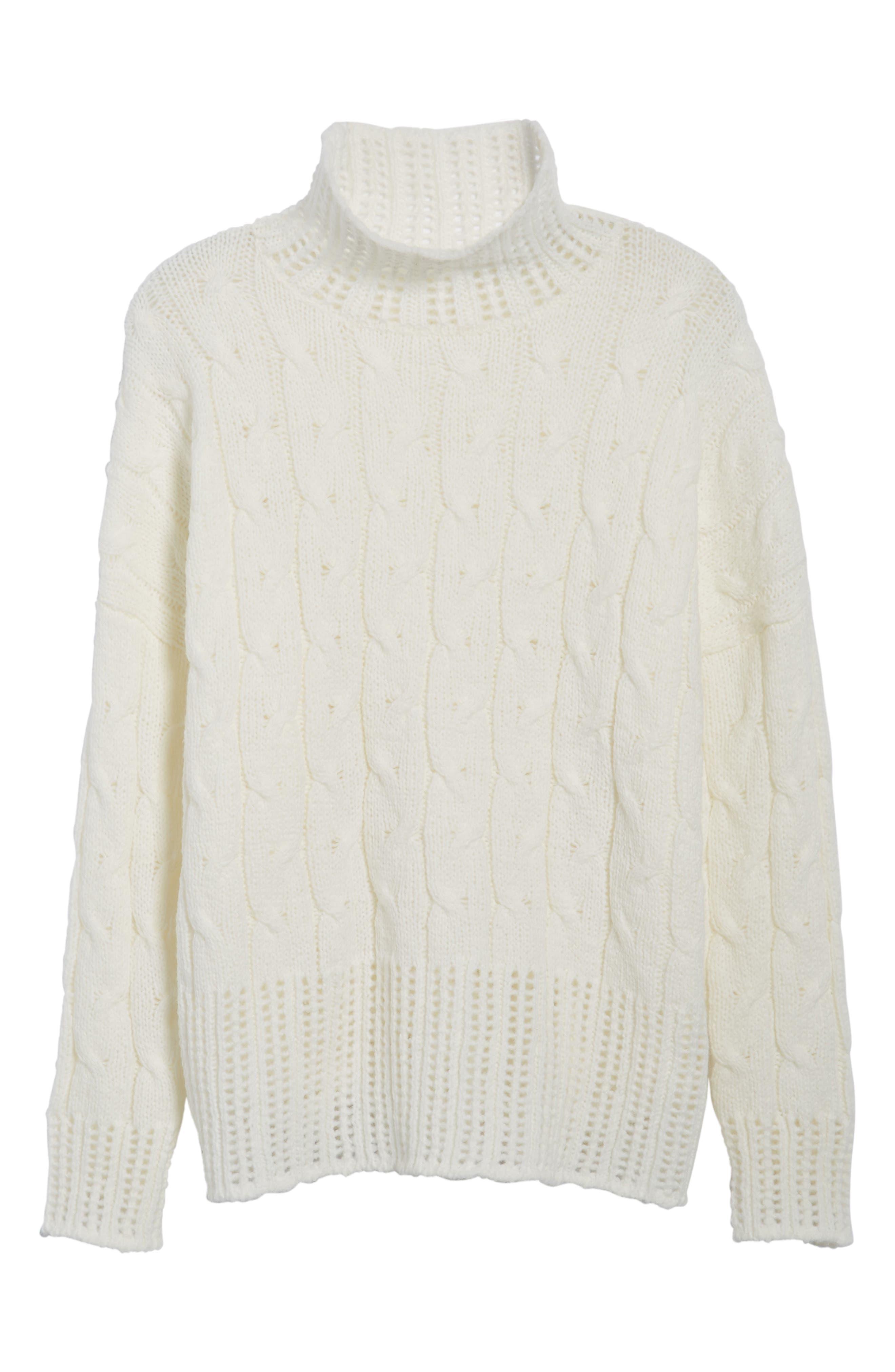 Alternate Image 6  - Press Pointelle Turtleneck Sweater