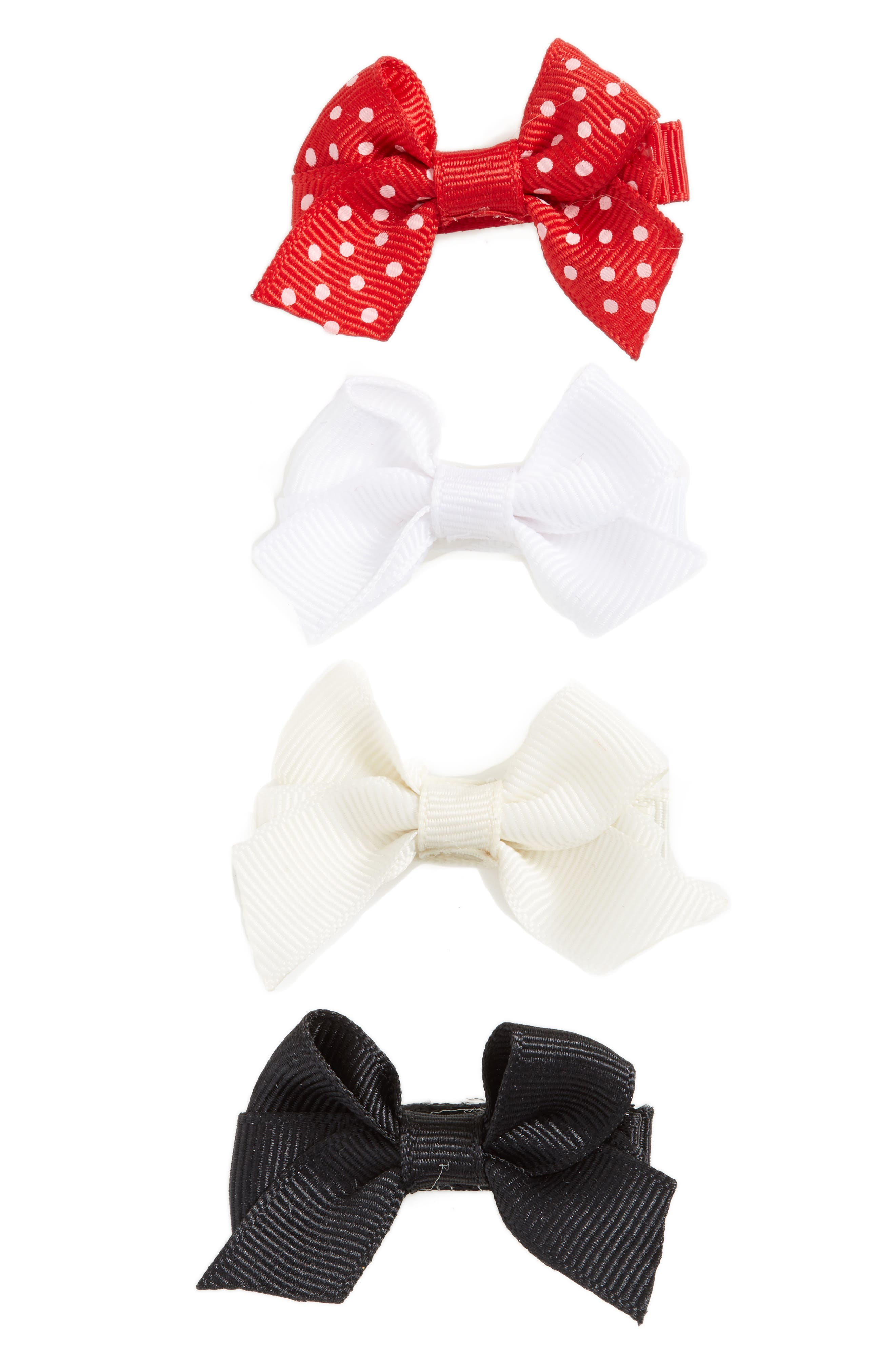 Main Image - PLH Bows & Laces Bow Clips (Set of 4) (Baby Girls)