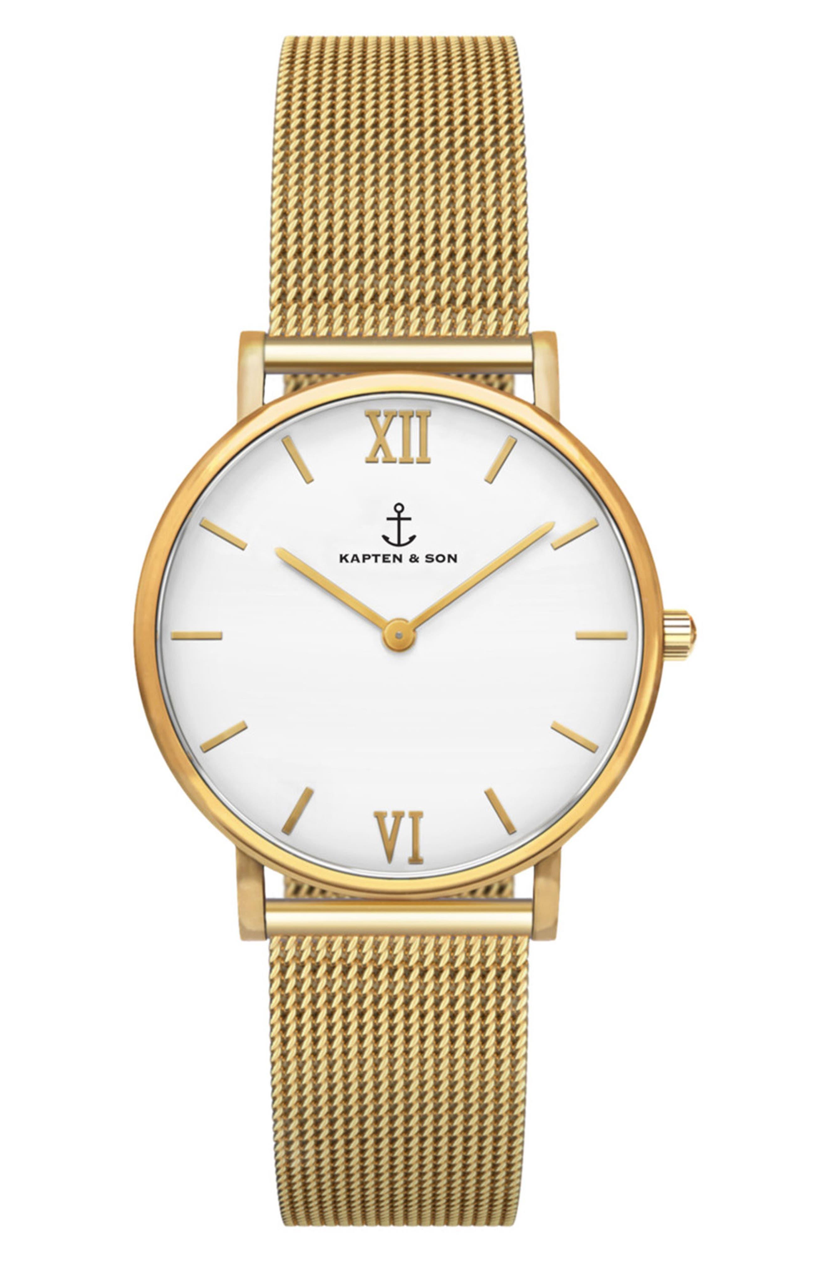 Joy Mesh Strap Watch, 32mm,                             Main thumbnail 1, color,                             Gold/ White/ Gold