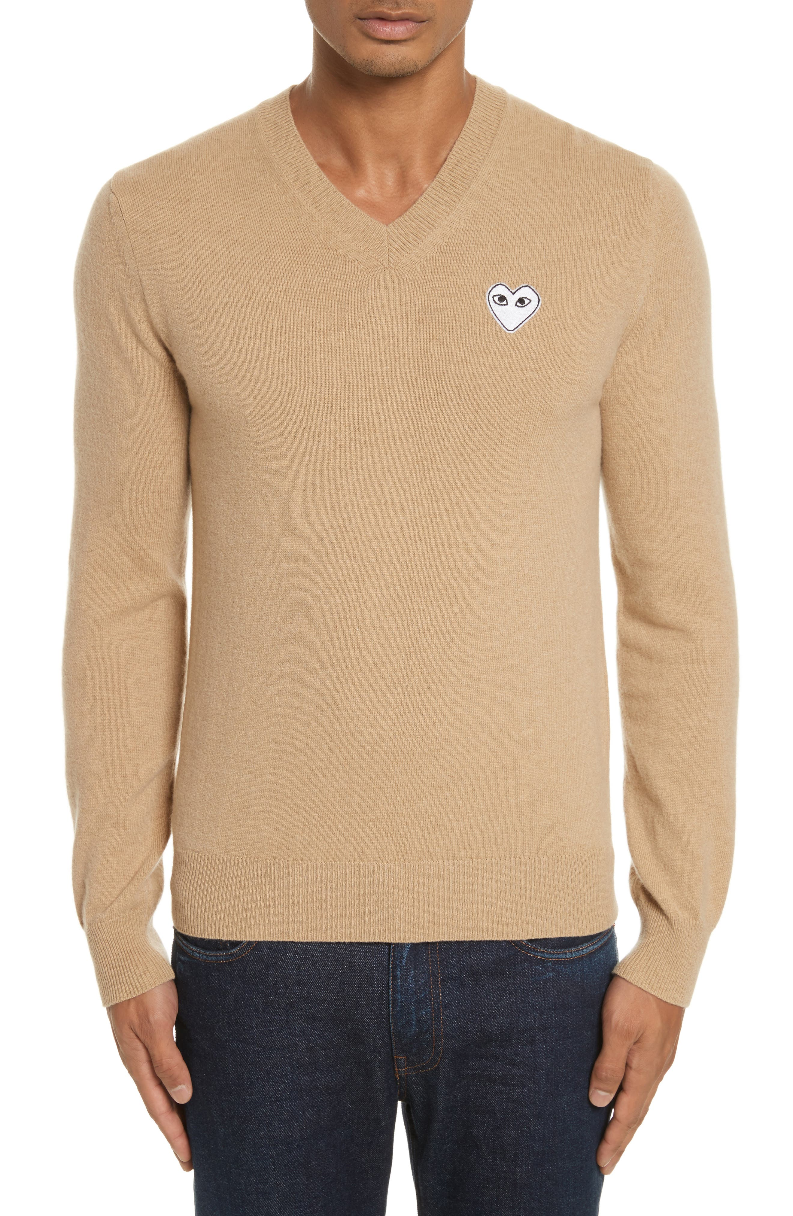 Comme des Garçons PLAY White Heart Wool V-Neck Sweater,                             Main thumbnail 1, color,                             Camel
