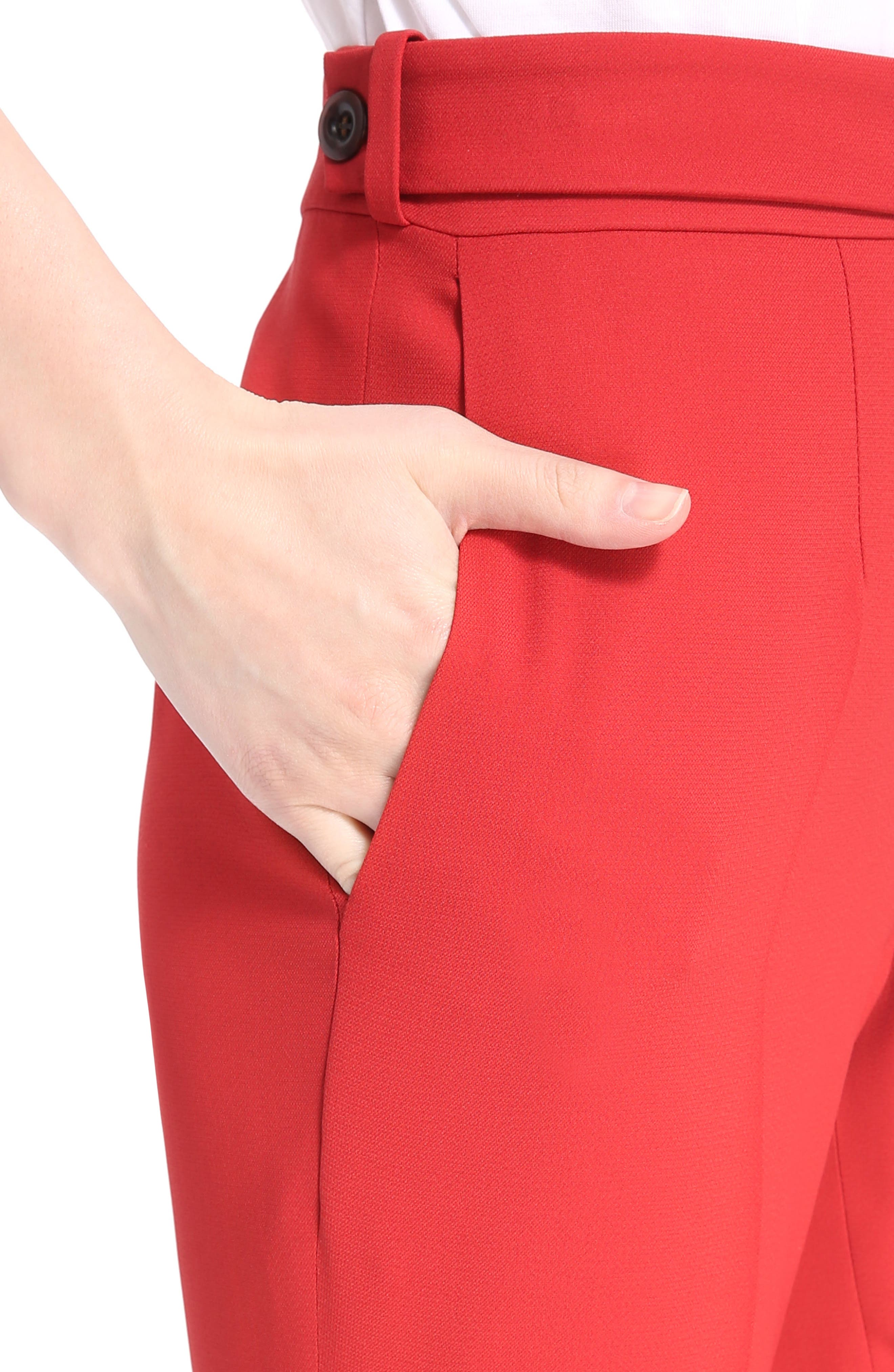 Cady Flare Suiting Pants,                             Alternate thumbnail 4, color,                             Ginger Red