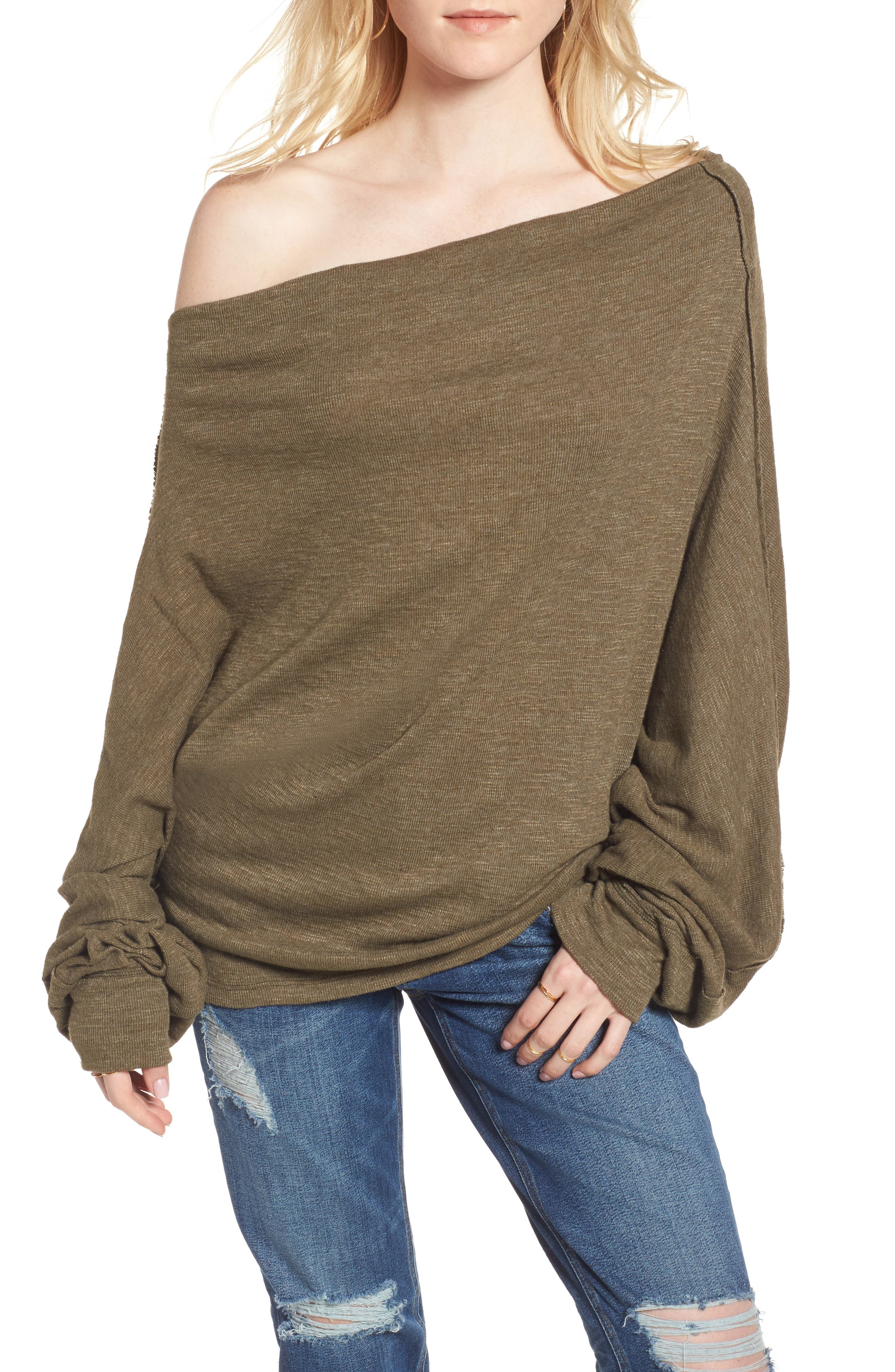 Free People Skyline Thermal Off the Shoulder Tee