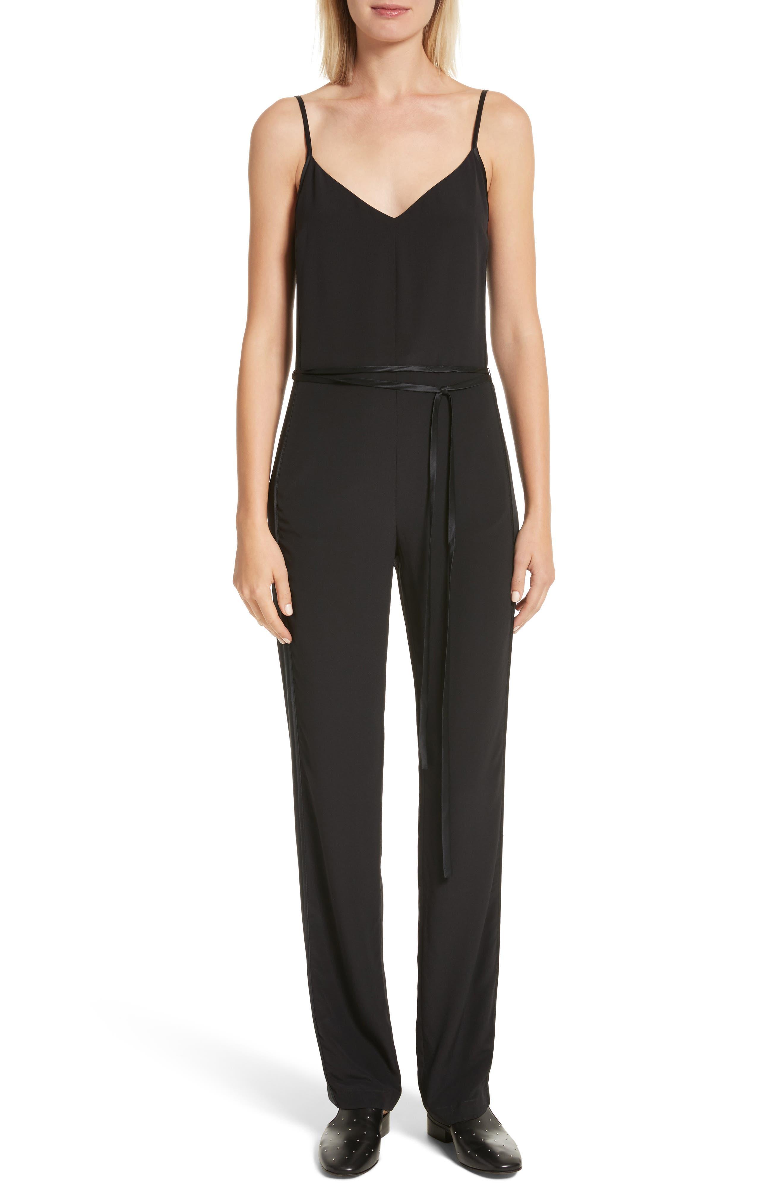 Rosa Silk Jumpsuit,                         Main,                         color, Black