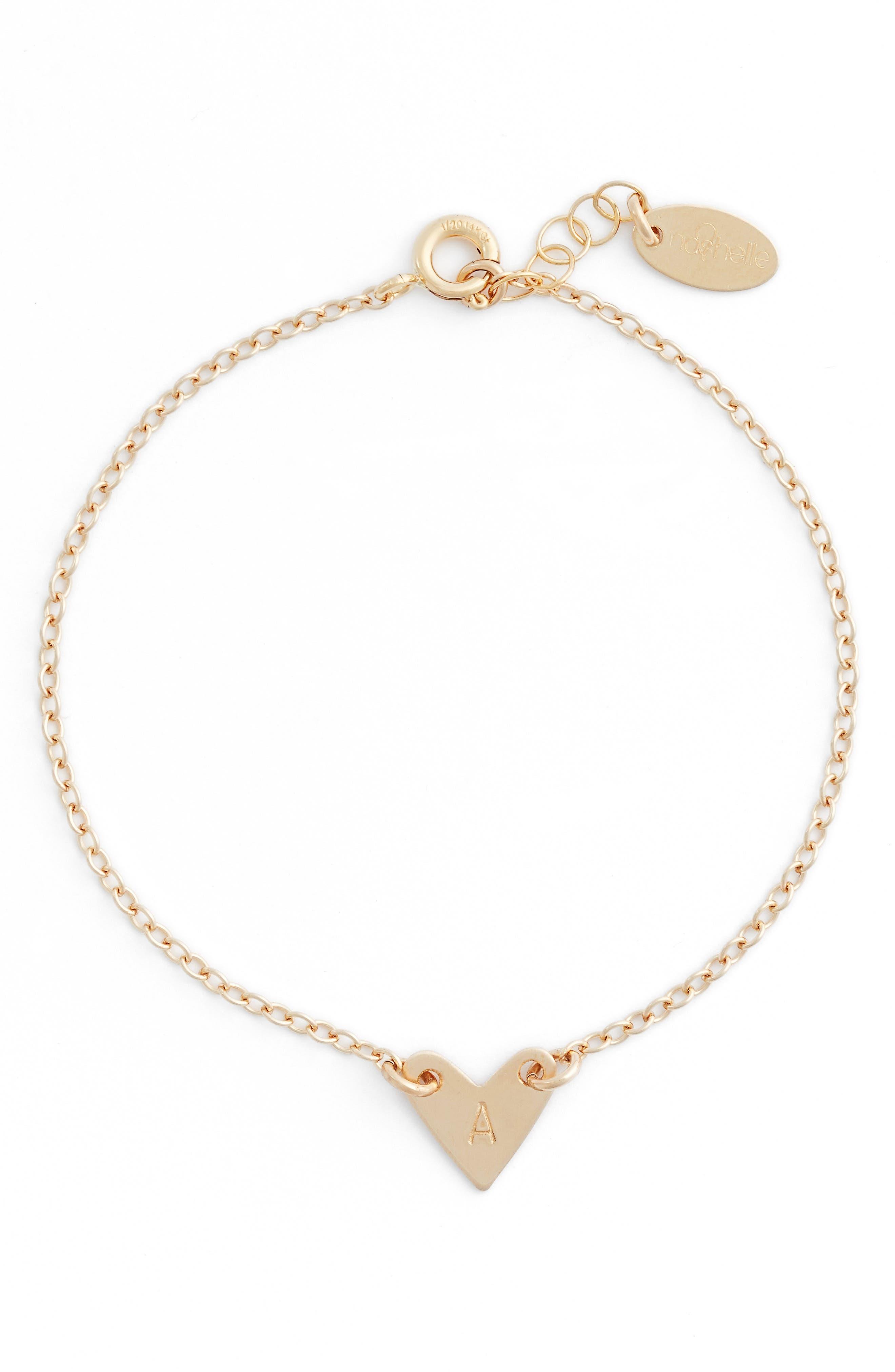 Alternate Image 1 Selected - Nashelle Initial Heart Bracelet