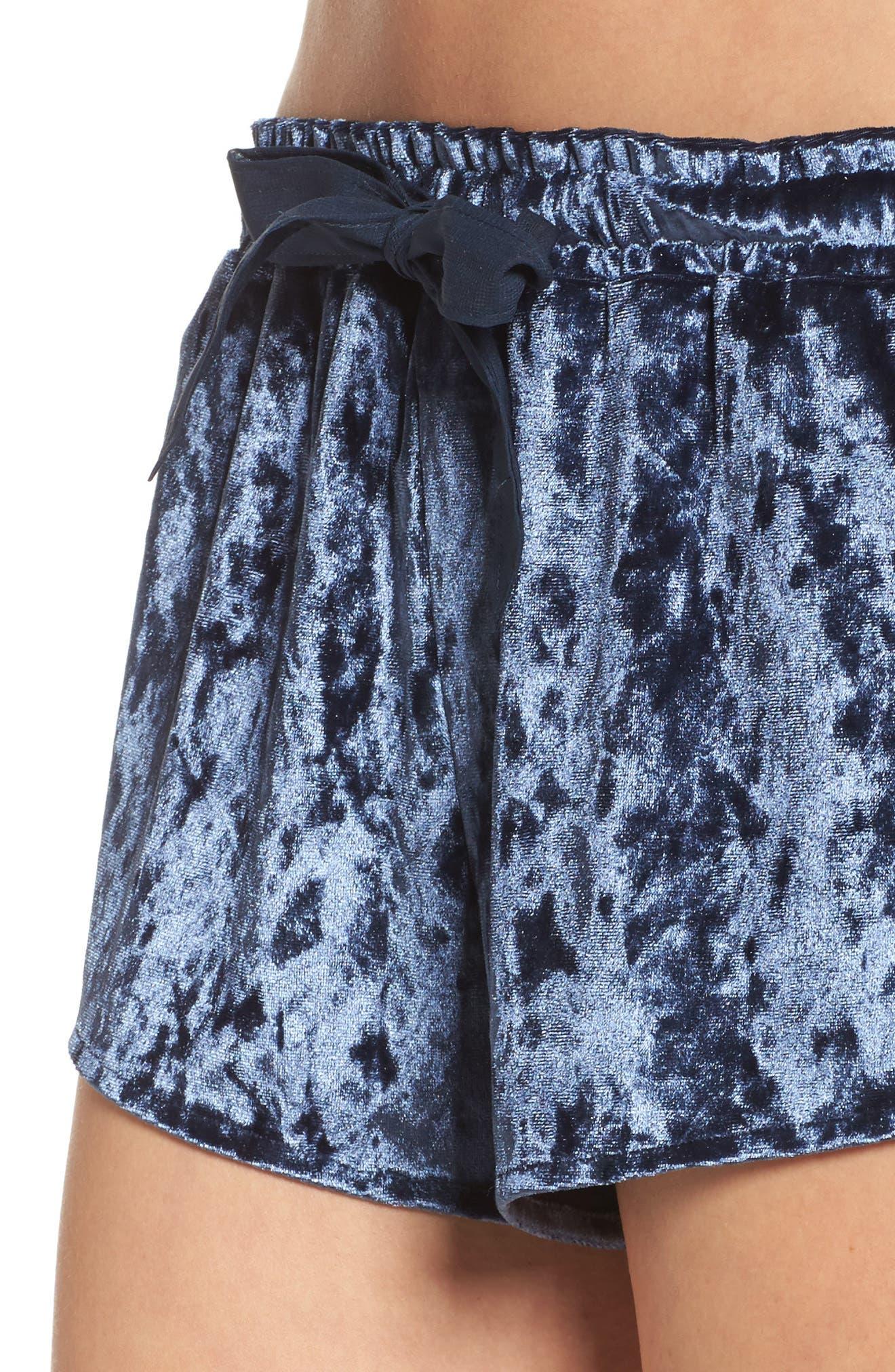 Starry Night Velvet Pajama Shorts,                             Alternate thumbnail 6, color,                             Navy Indigo