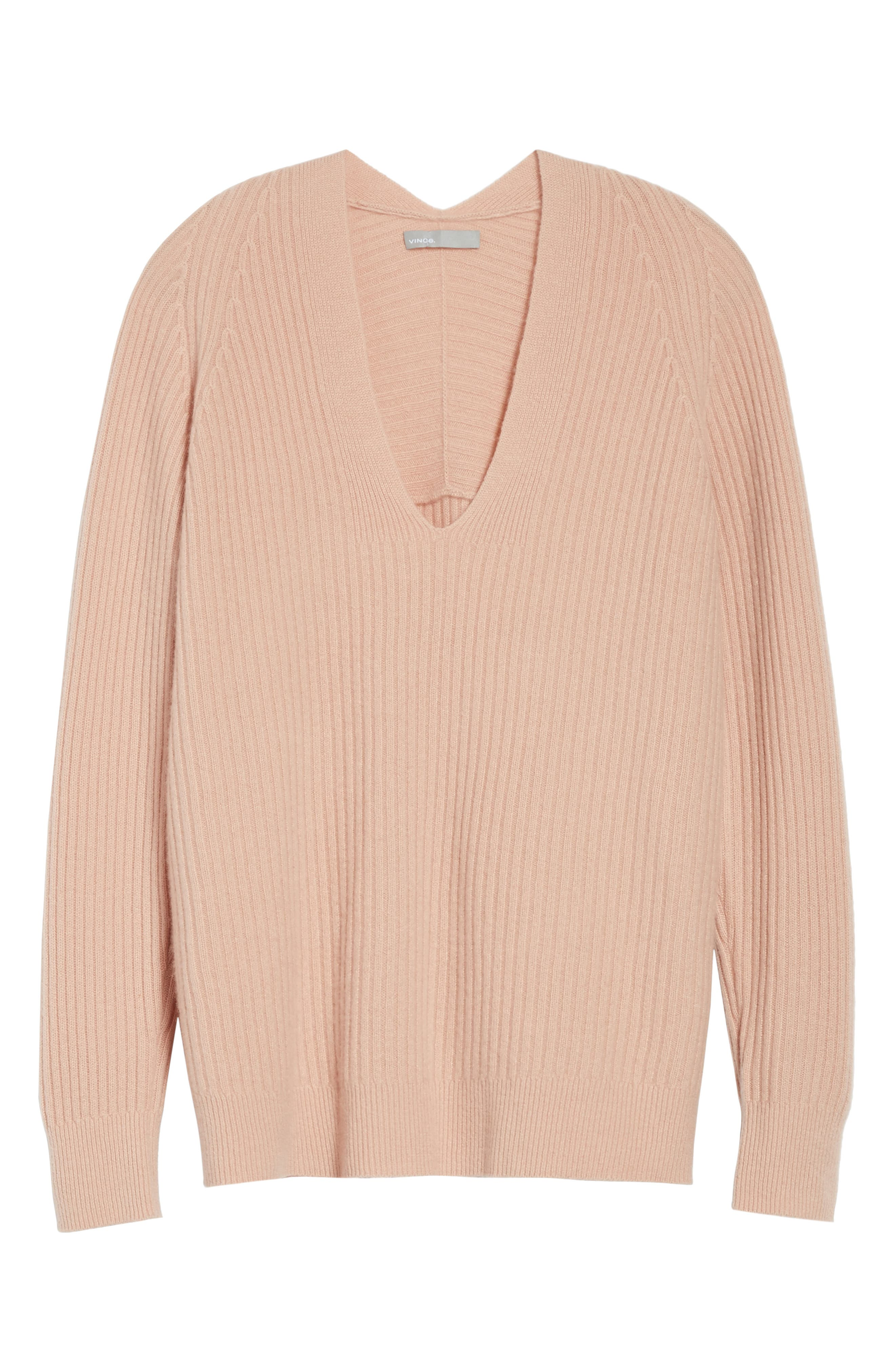 Wool Blend Raglan V-Neck Sweater,                             Alternate thumbnail 6, color,                             Quartz