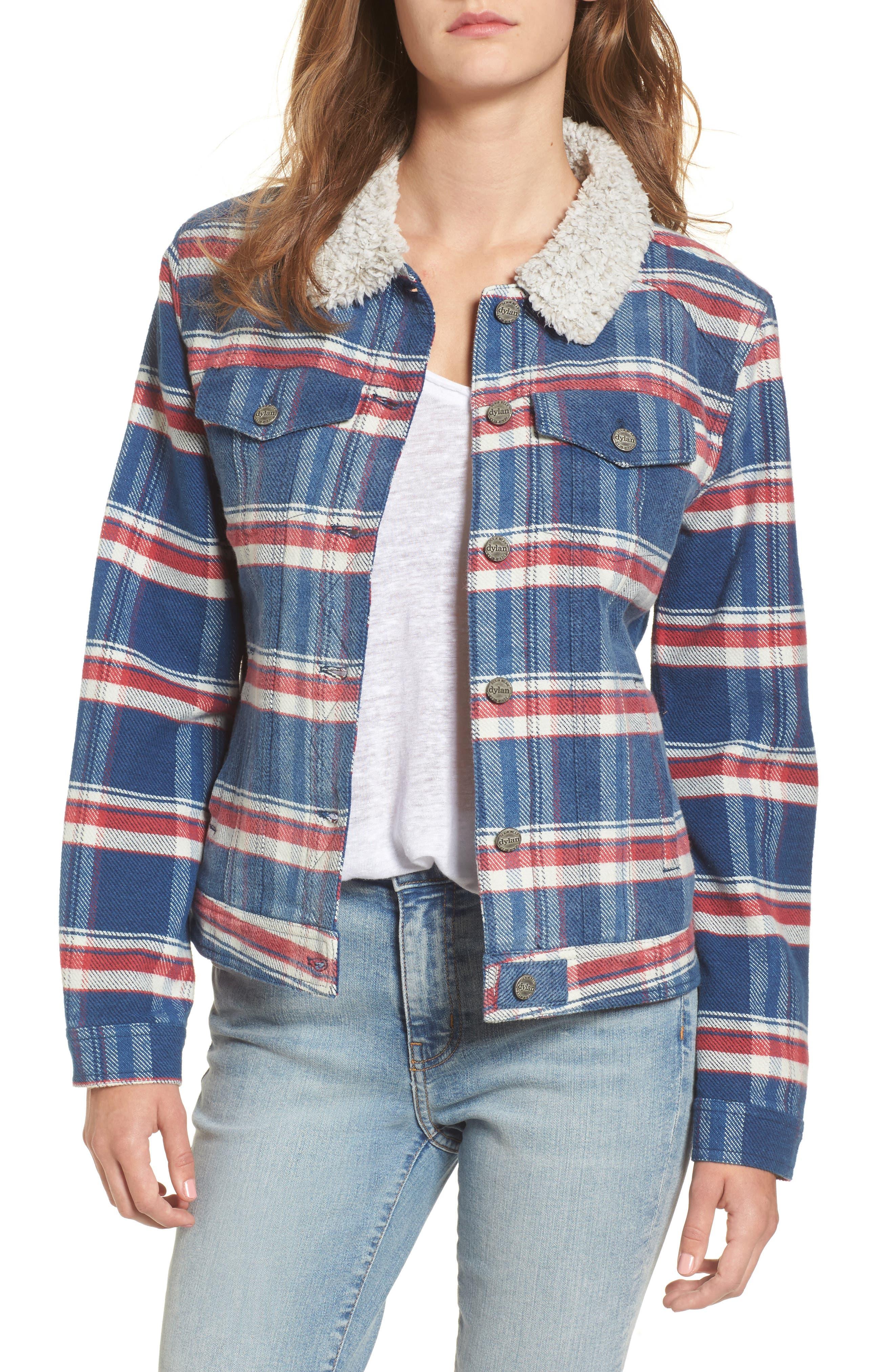 Ella Plaid Denim Jacket with Faux Shearling Collar,                         Main,                         color, Indigo/ Red Plaid