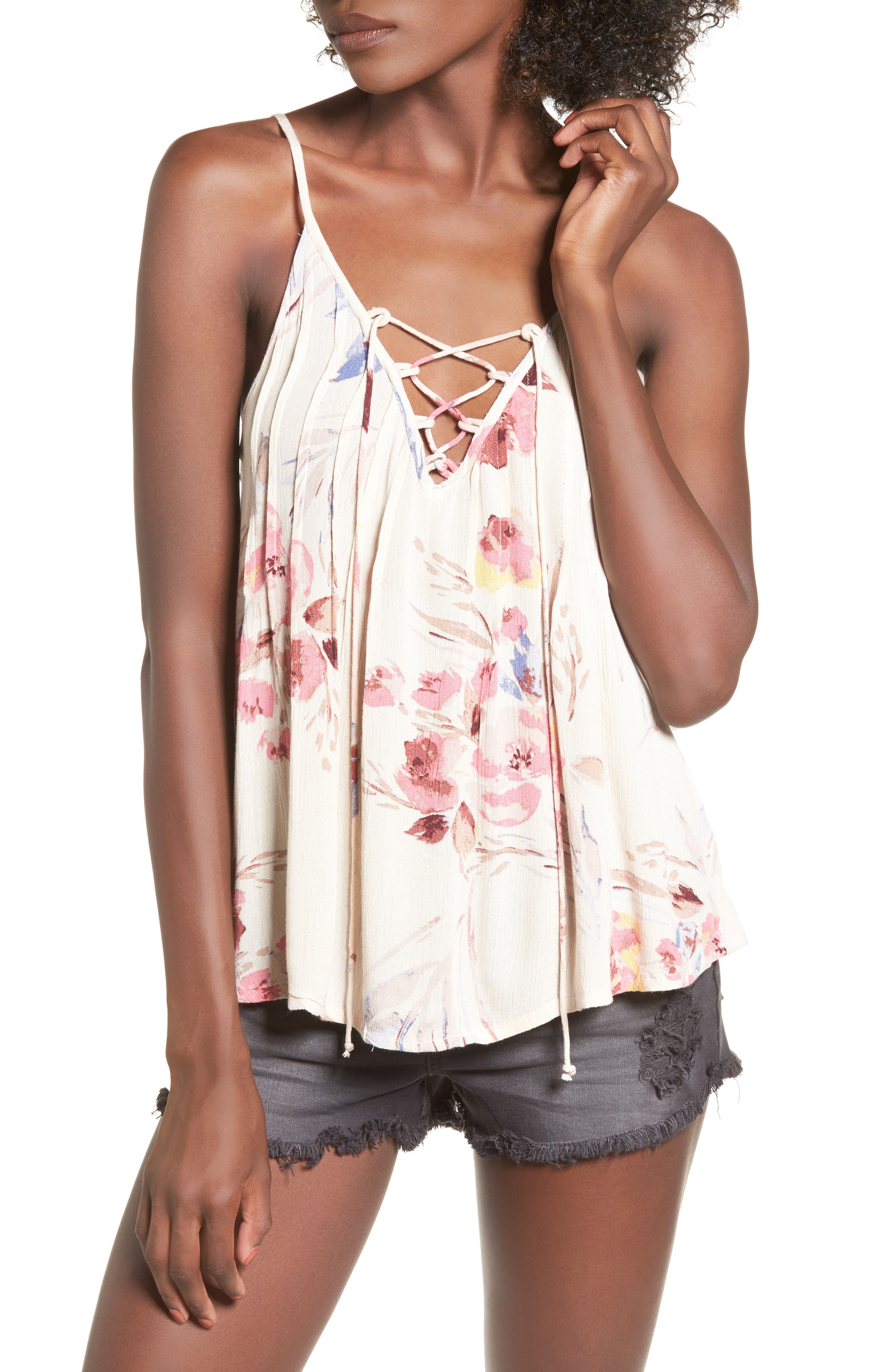 Illusions Of Floral Print Lace-Up Tank,                         Main,                         color, Ivory