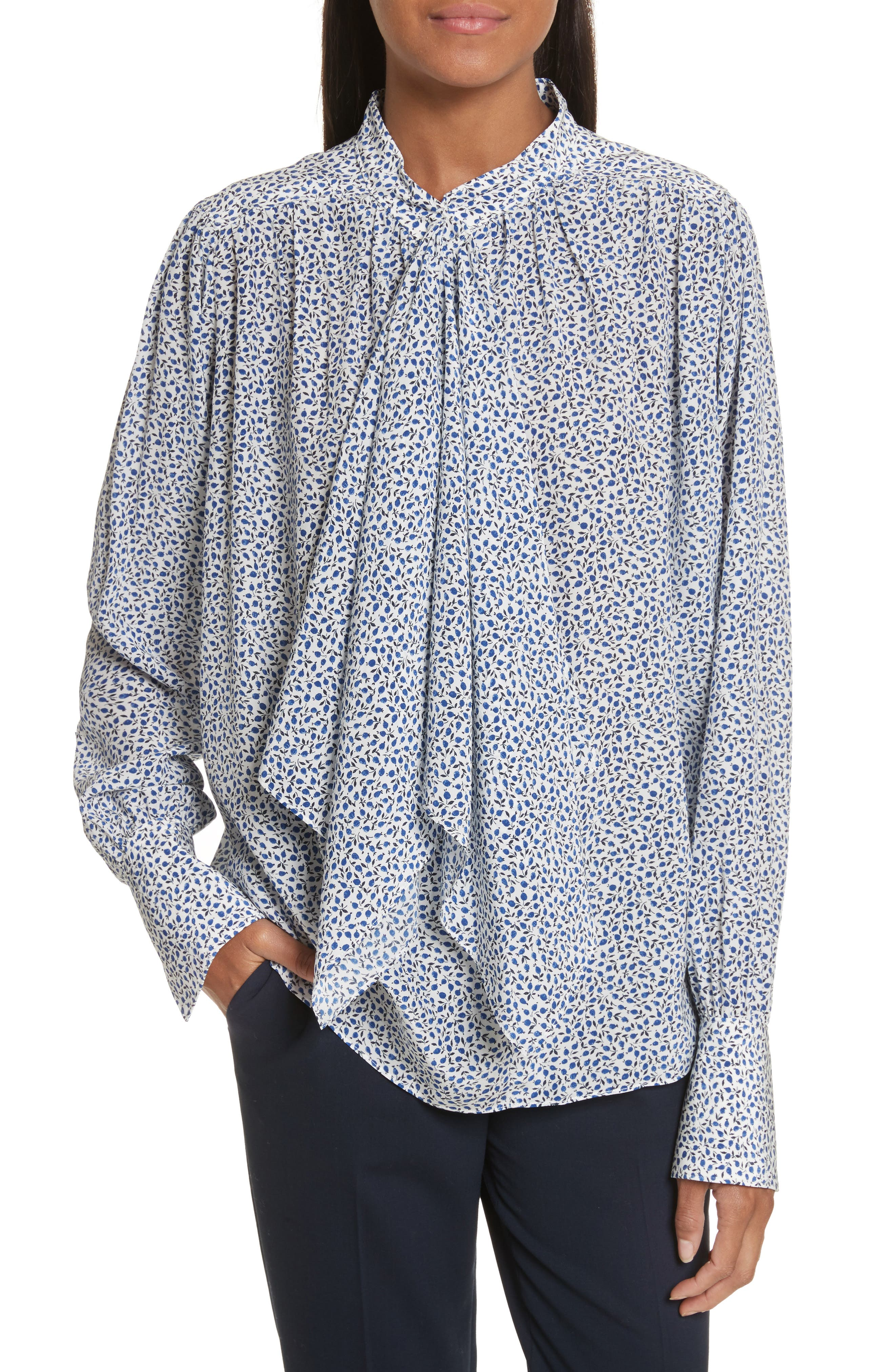 Cora Tie Neck Liberty Print Silk Blouse,                         Main,                         color, Sapphire