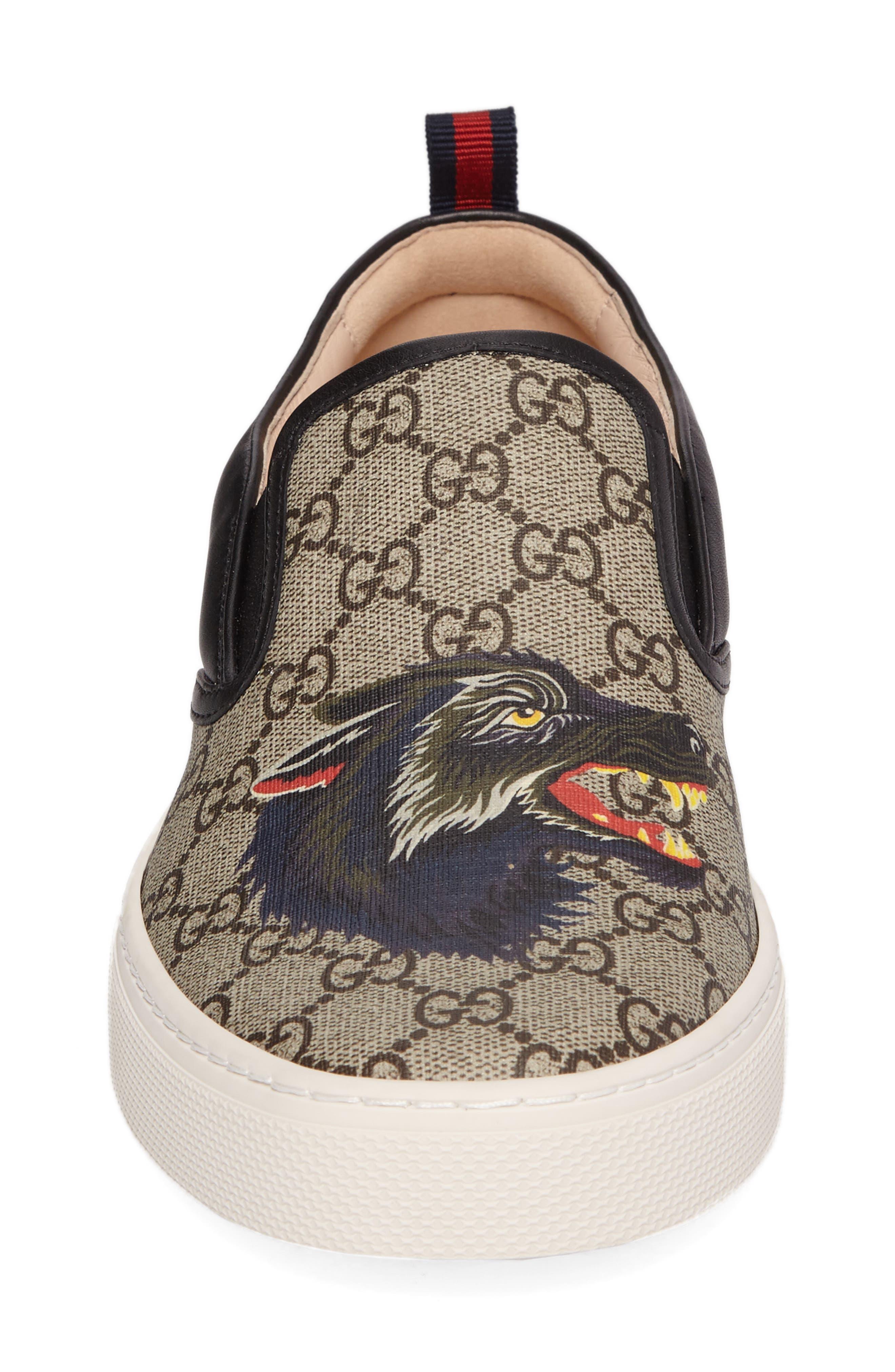 Wolf GG Supreme Slip-On Sneaker,                             Alternate thumbnail 4, color,                             Beige/ Ebony