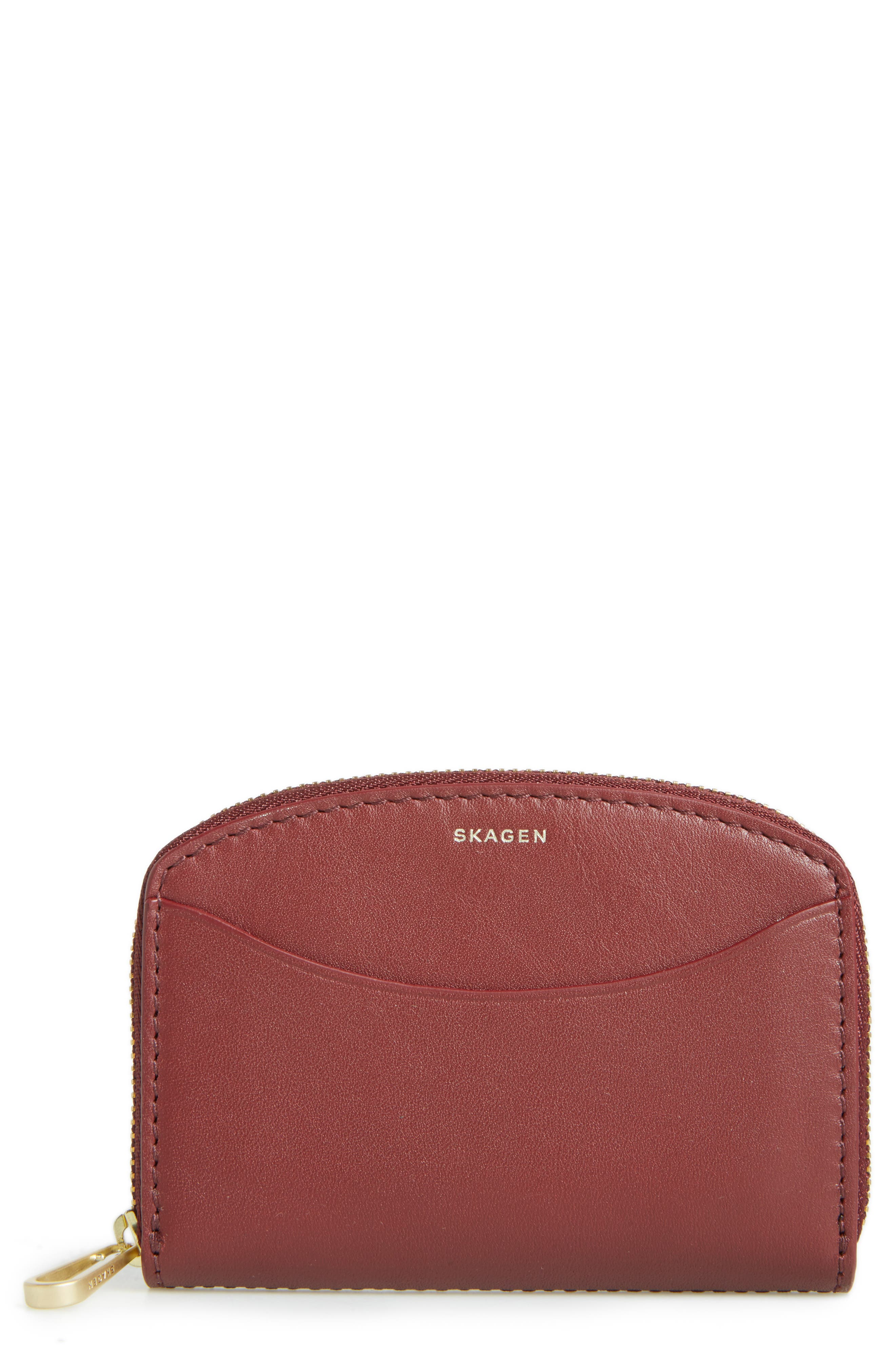 Zip Leather Coin Wallet,                             Main thumbnail 1, color,                             Cordovan