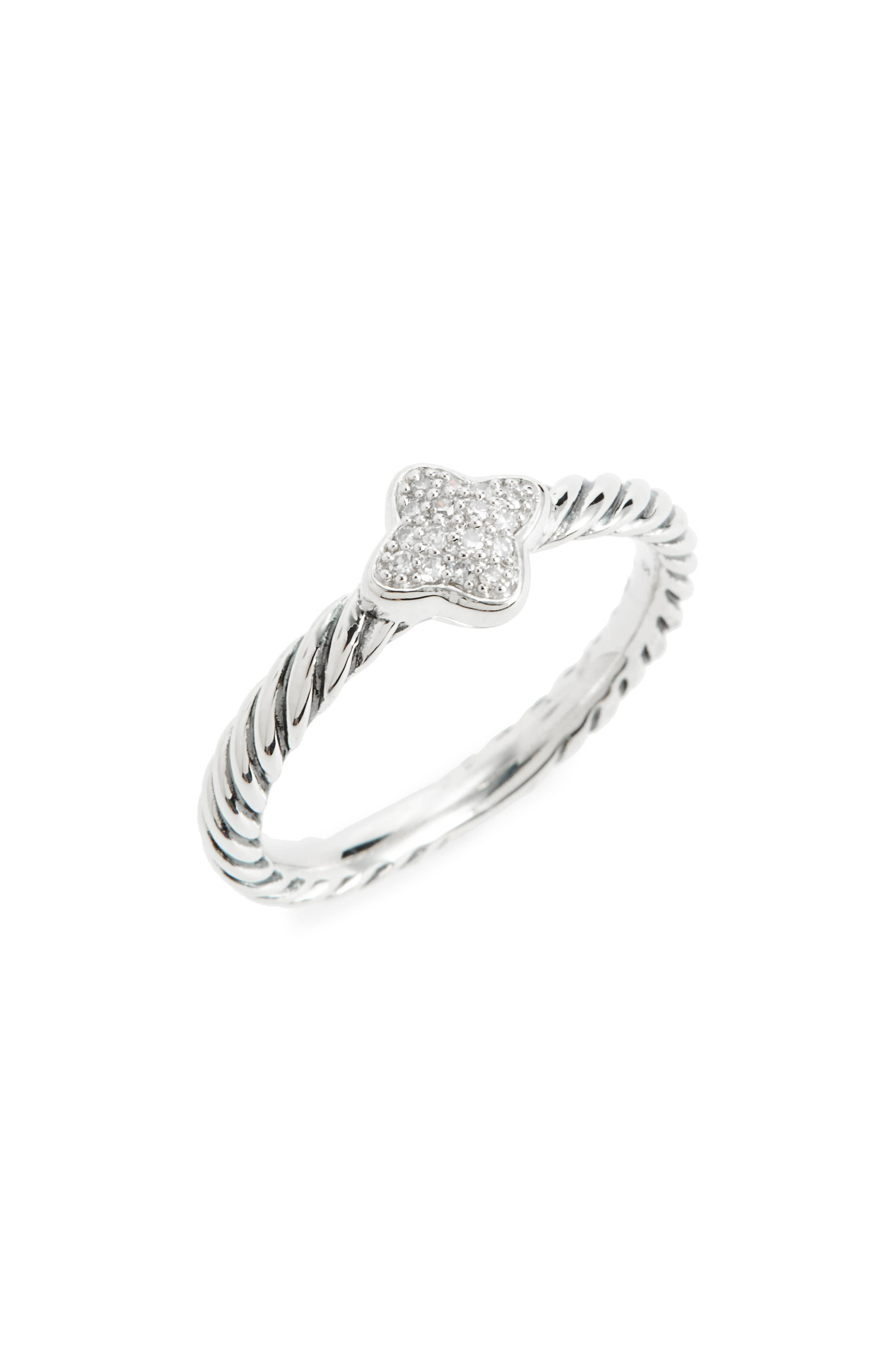 Quatrefoil Ring with Diamonds,                         Main,                         color, Diamond