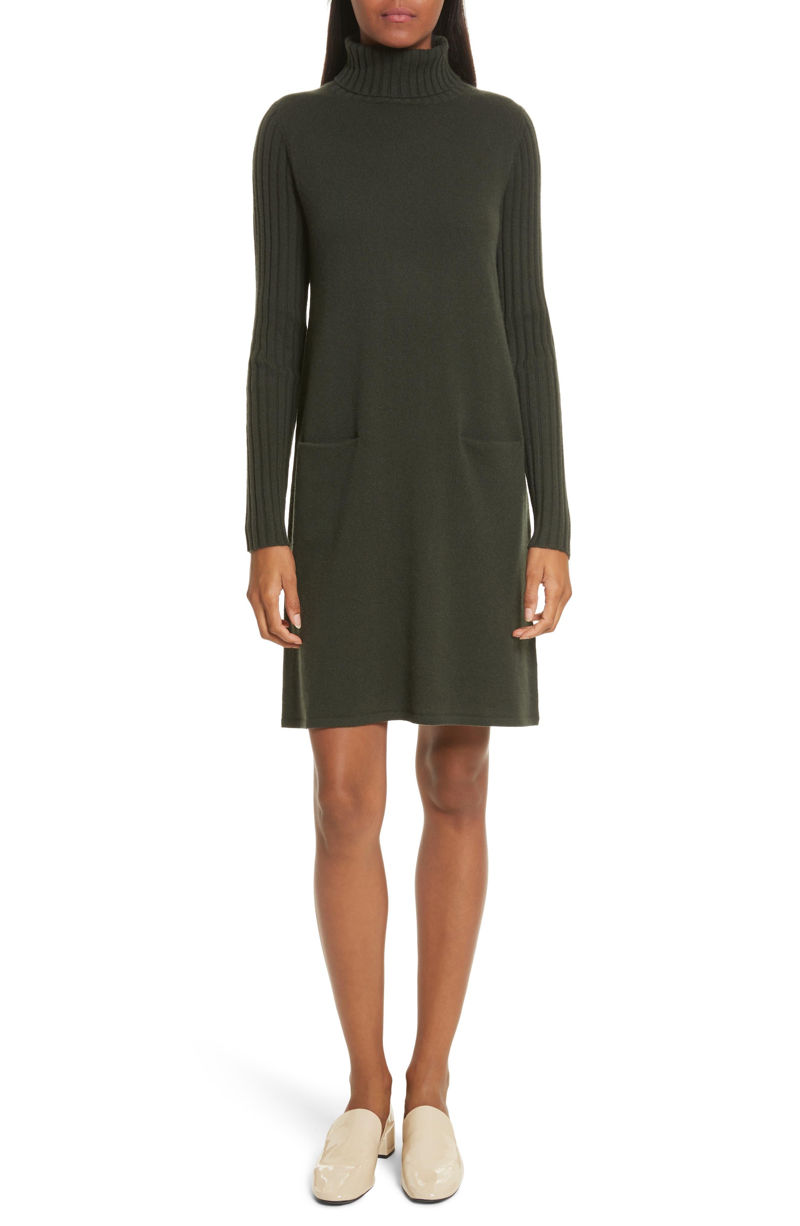Cashmere Turtleneck Sweater Dress,                         Main,                         color, Dark Olive