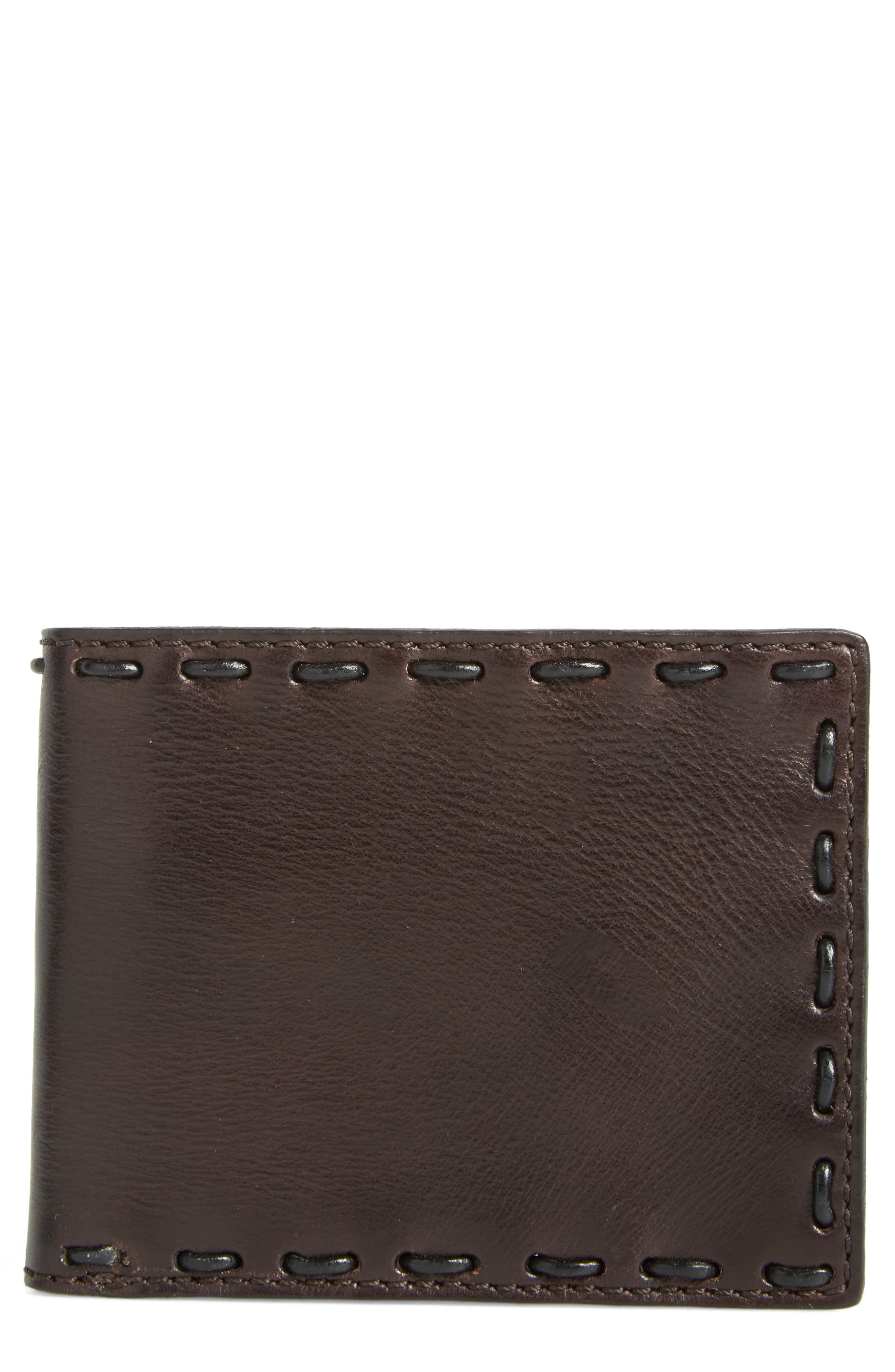Pickstitch Leather Bifold Wallet,                             Main thumbnail 1, color,                             Chocolate