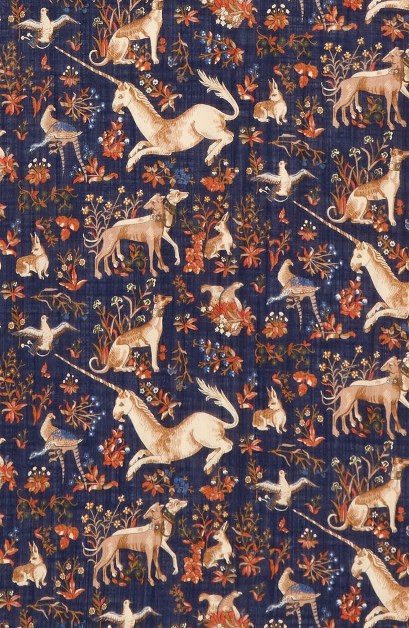 Unicorn Print Wool & Silk Scarf,                             Alternate thumbnail 3, color,                             Navy Multi