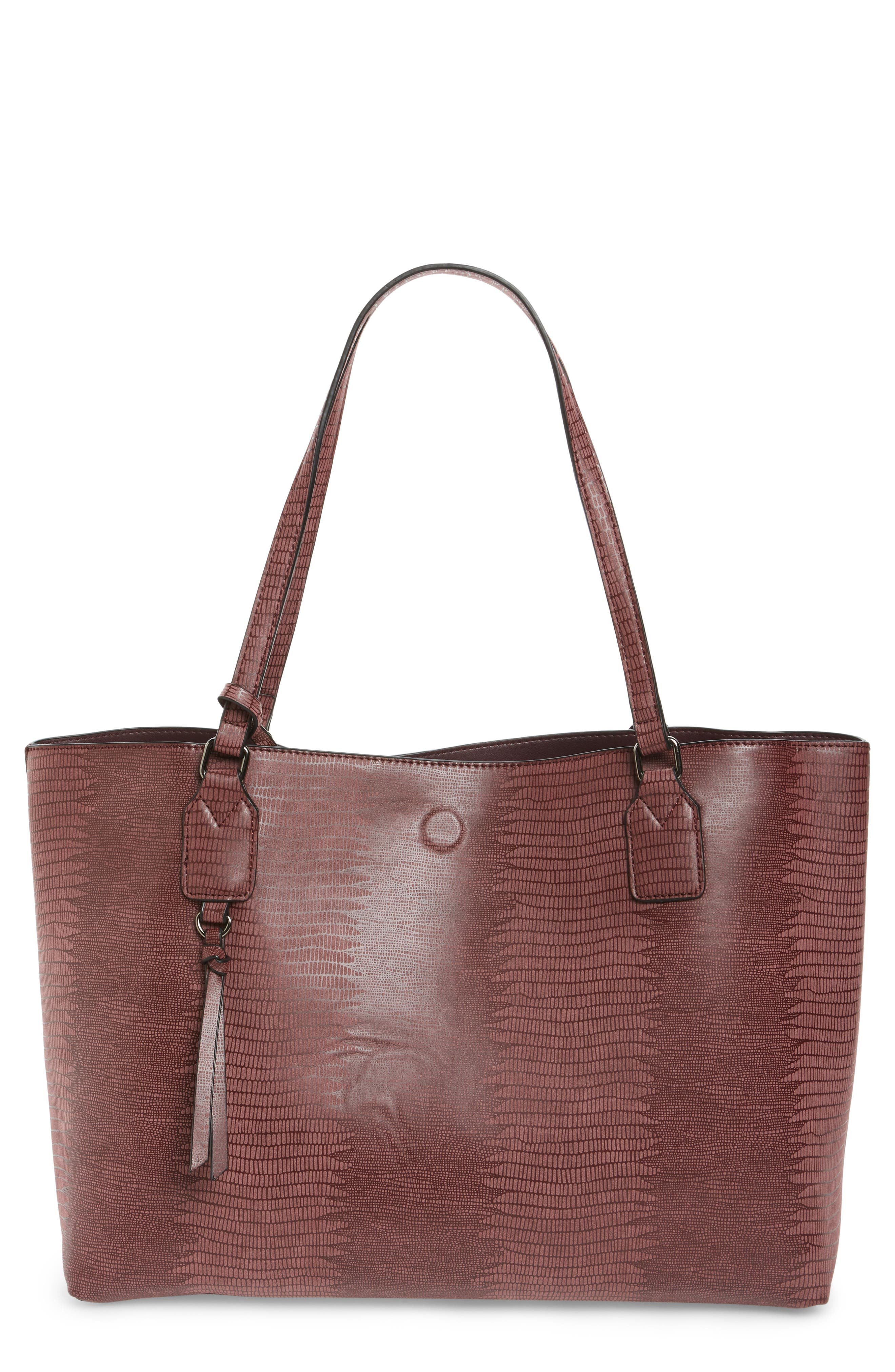 Street Level Snake Embossed Faux Leather Tote