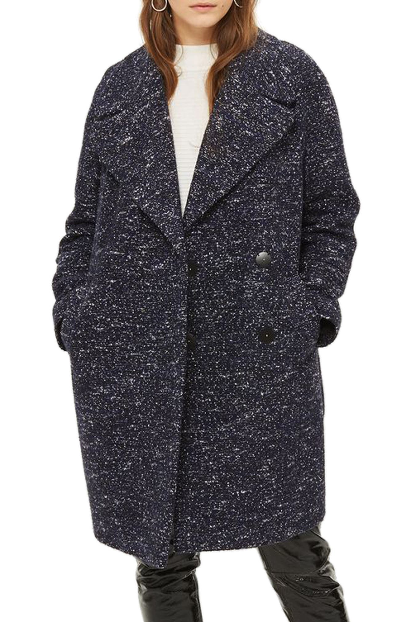 Bouclé Cocoon Coat,                             Main thumbnail 1, color,                             Navy Blue Multi
