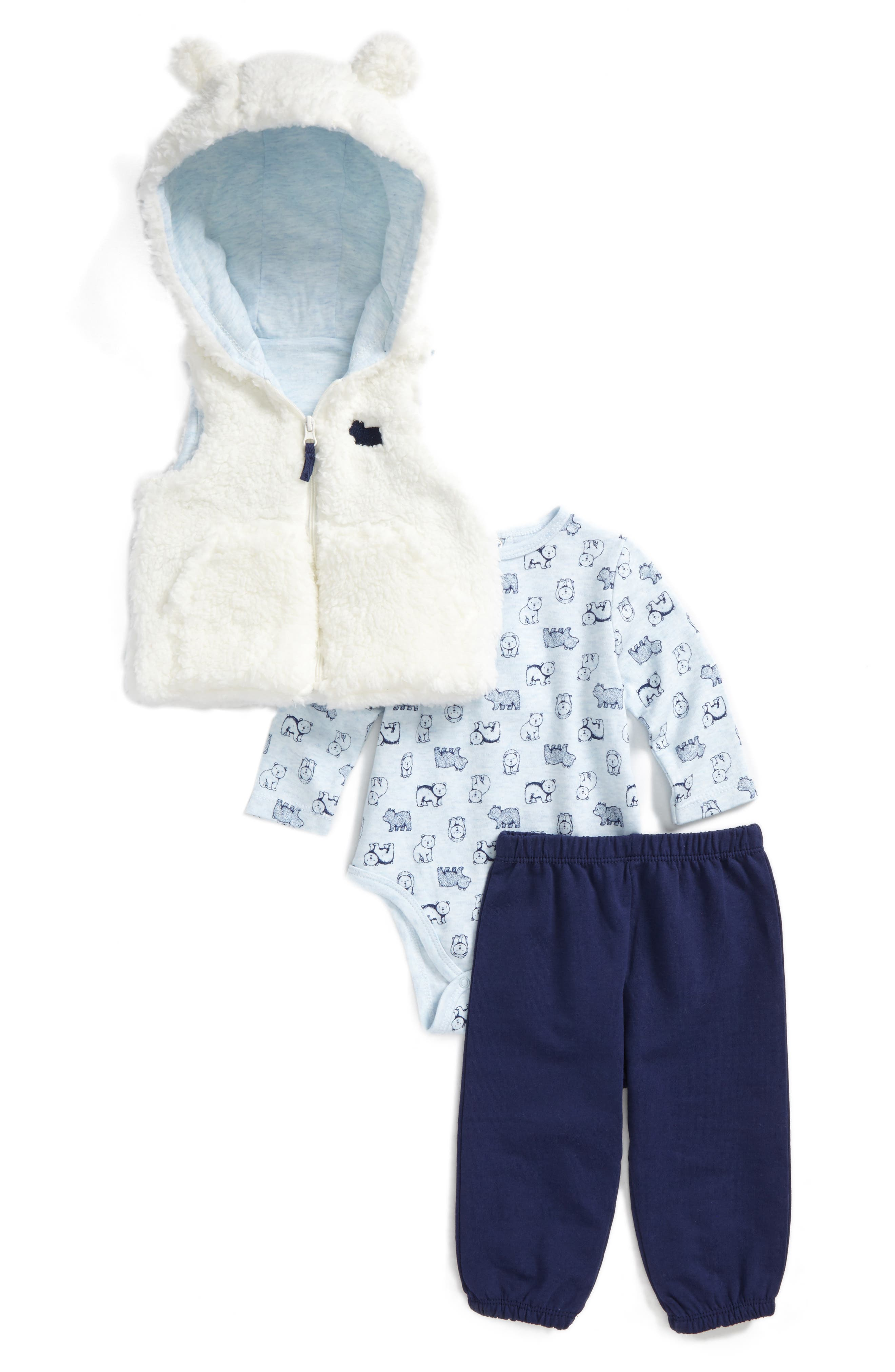 Little Me Bear Vest, Bodysuit & Pants Set (Baby Boys)