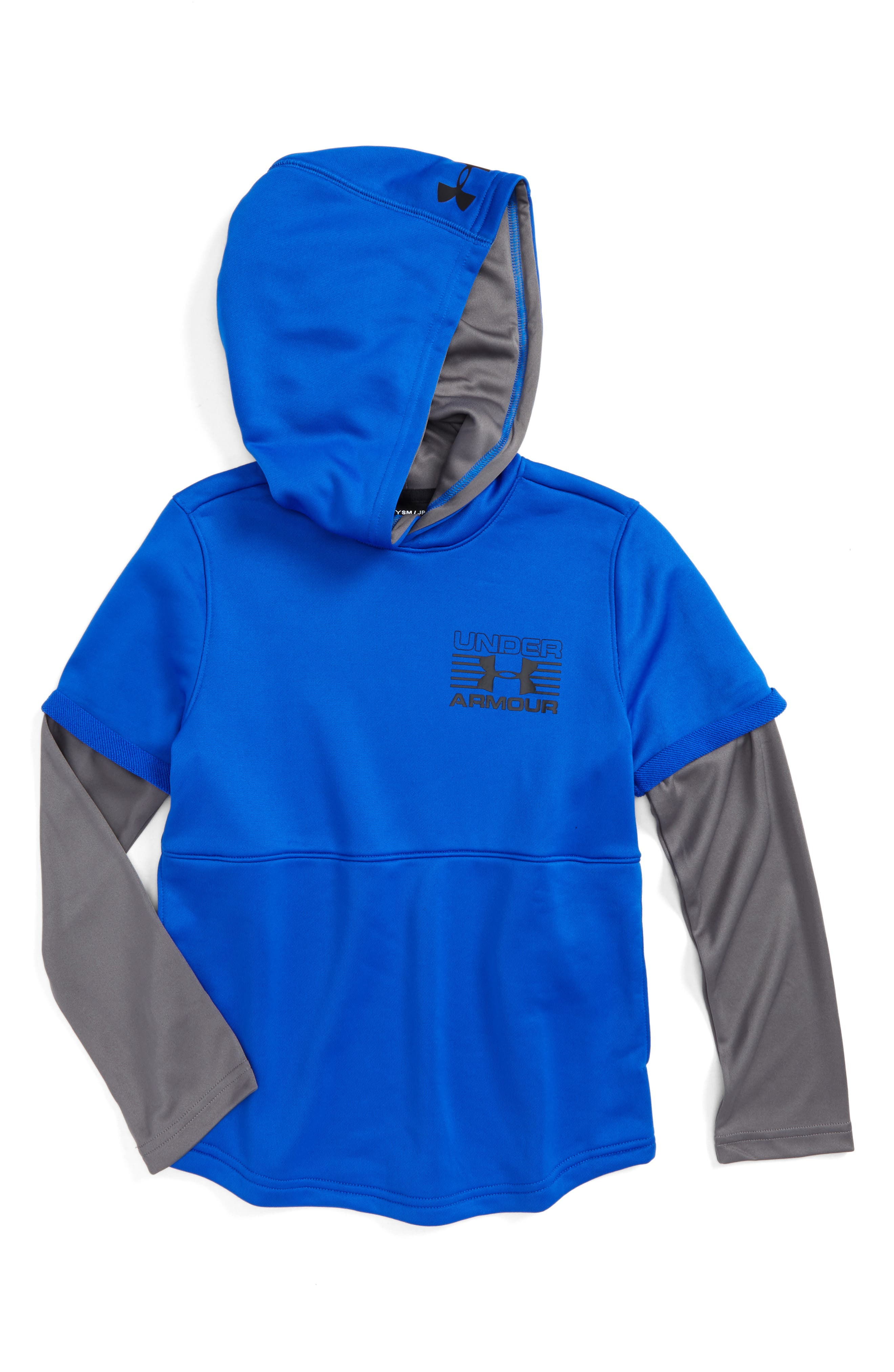 Train to Game Layered ColdGear<sup>®</sup> Hoodie,                         Main,                         color, Ultra Blue/ Graphite/ Black