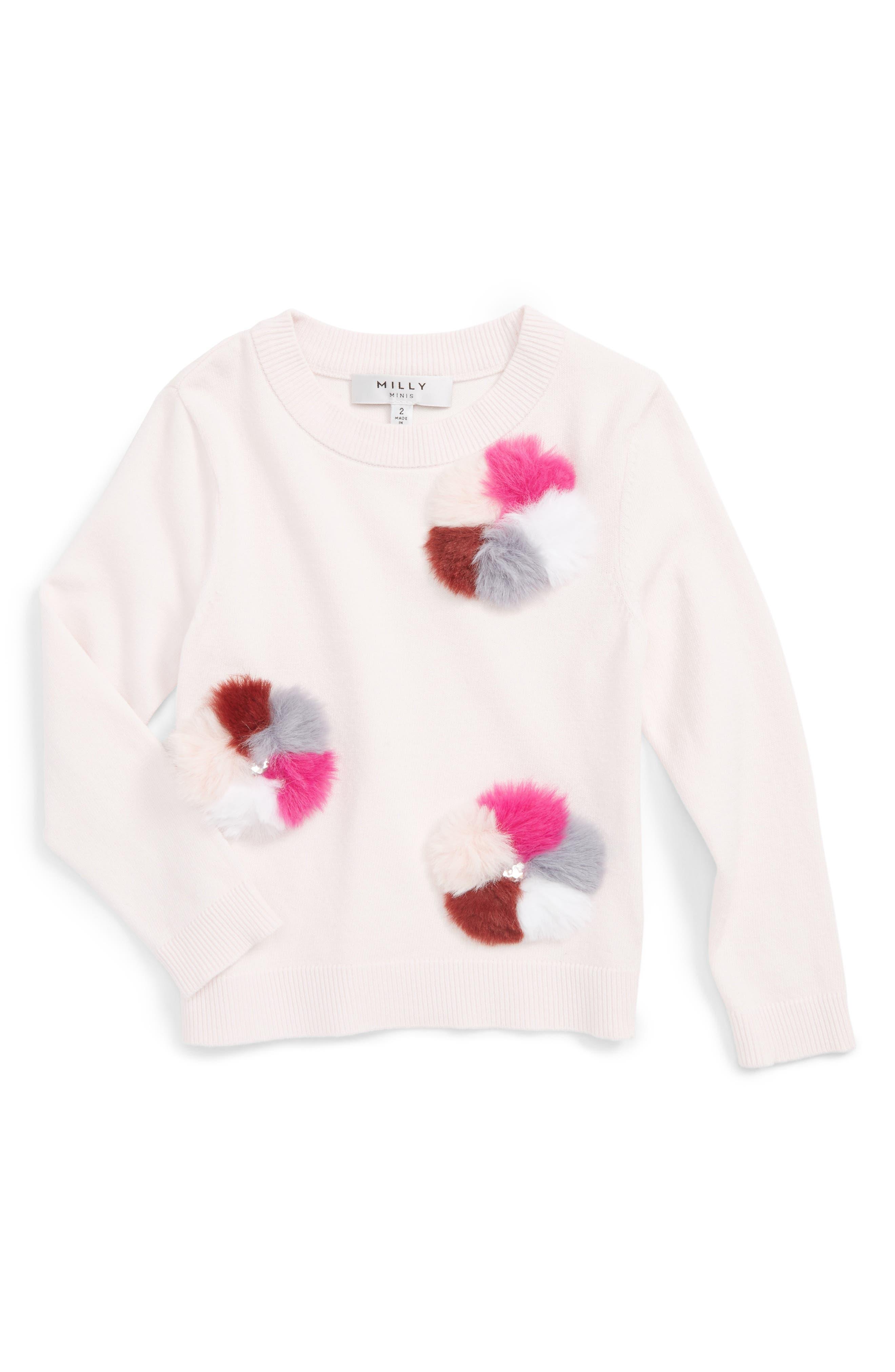 Pompom Embellished Pullover,                             Main thumbnail 1, color,                             Ballet Pink