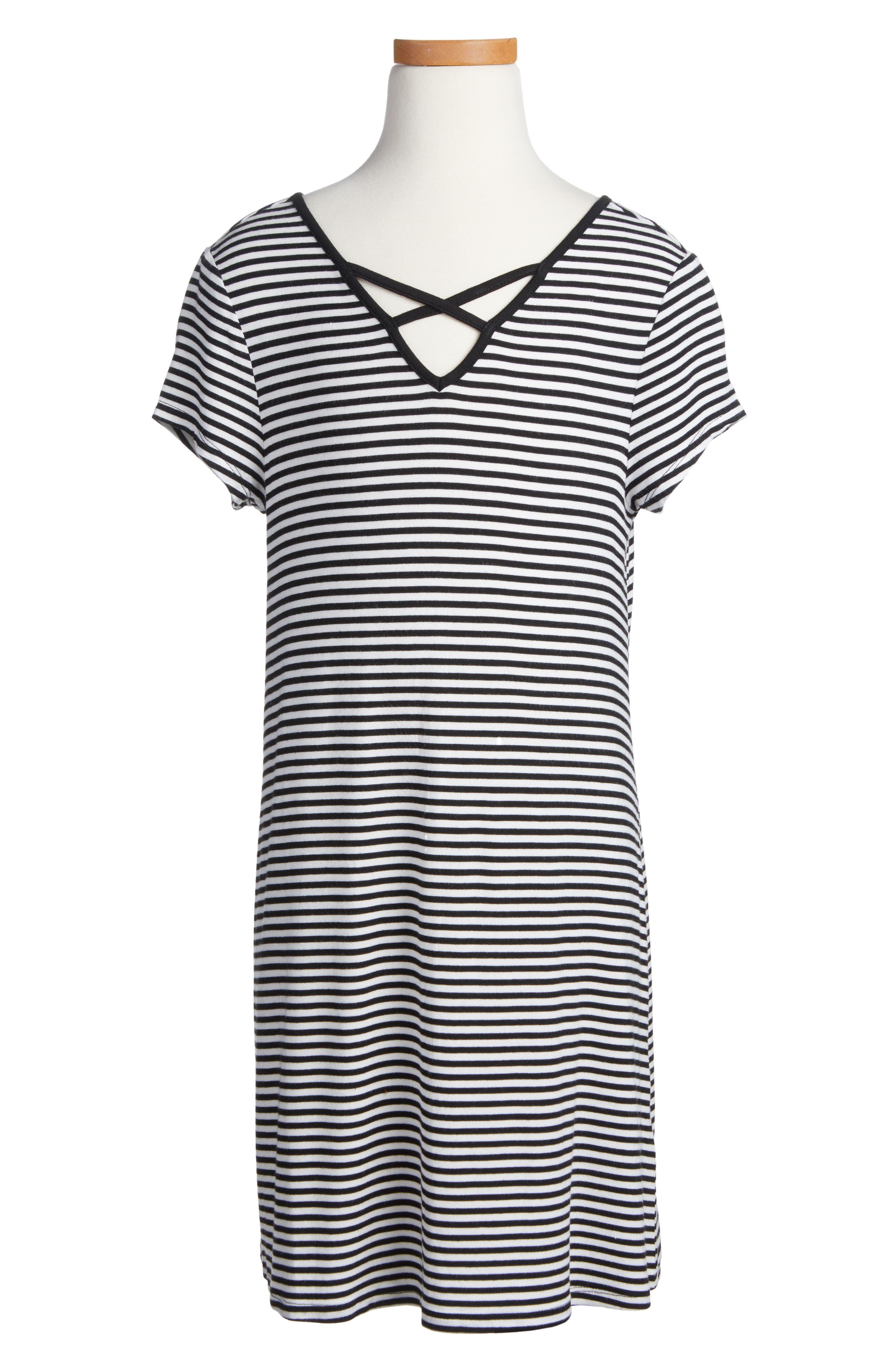 Love Fire Lattice Neck T-Shirt Dress (Big Girls)