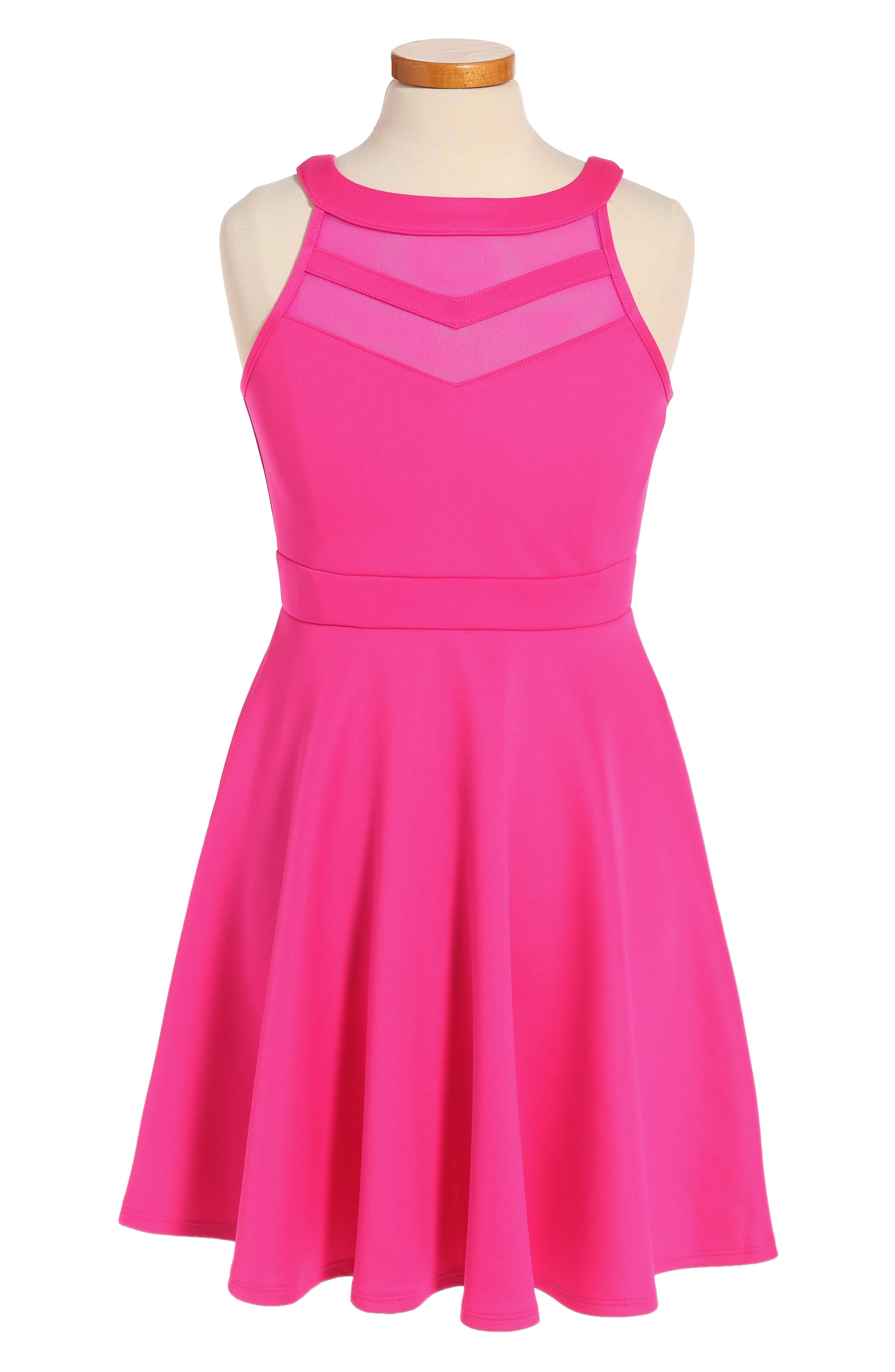 Mesh Inset Party Dress,                         Main,                         color, Hot Pink