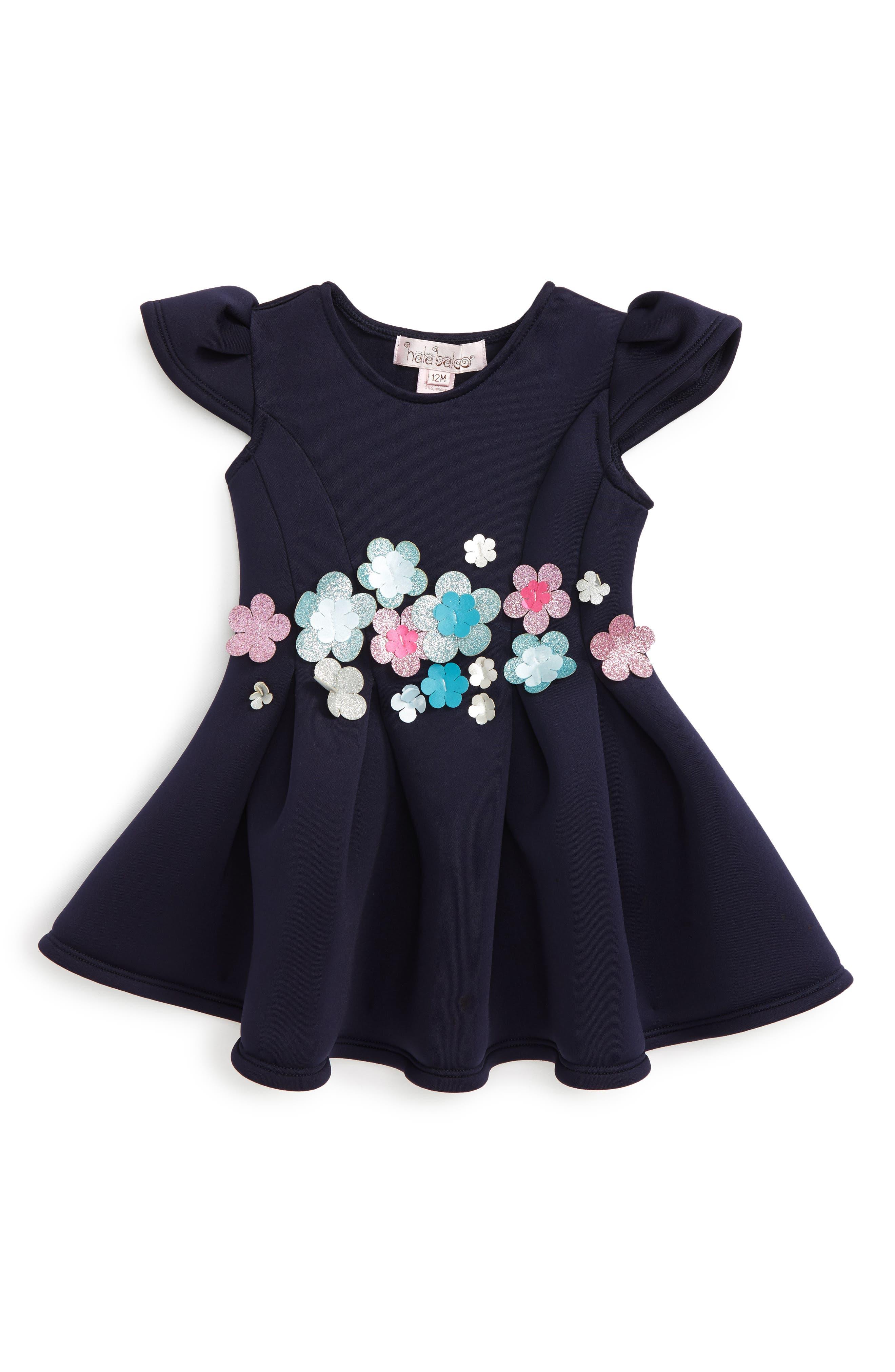 Halabaloo Bouquet Scuba Dress (Baby Girls)