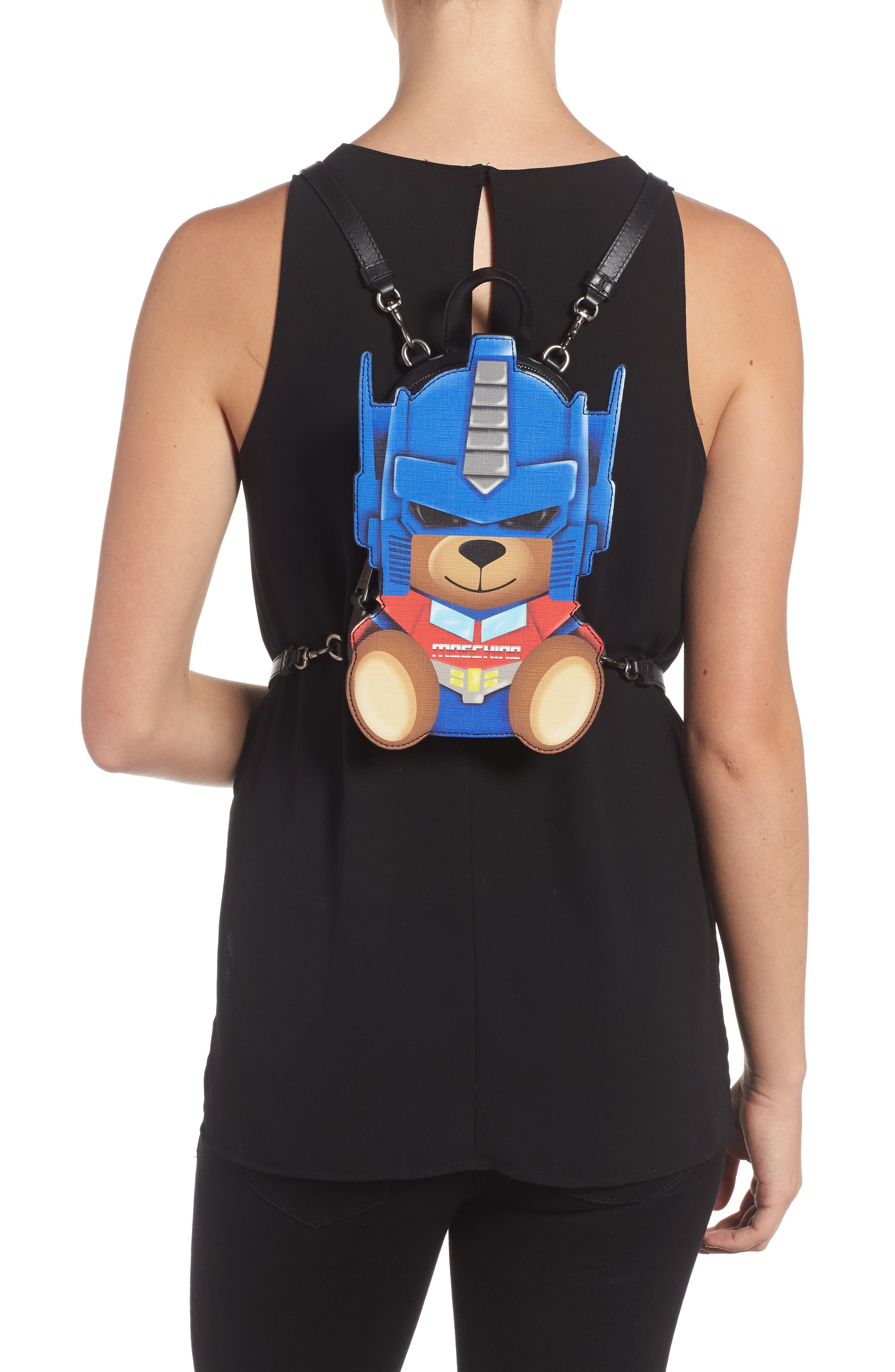 Alternate Image 2  - Moschino Transformer Bear Faux Leather Backpack