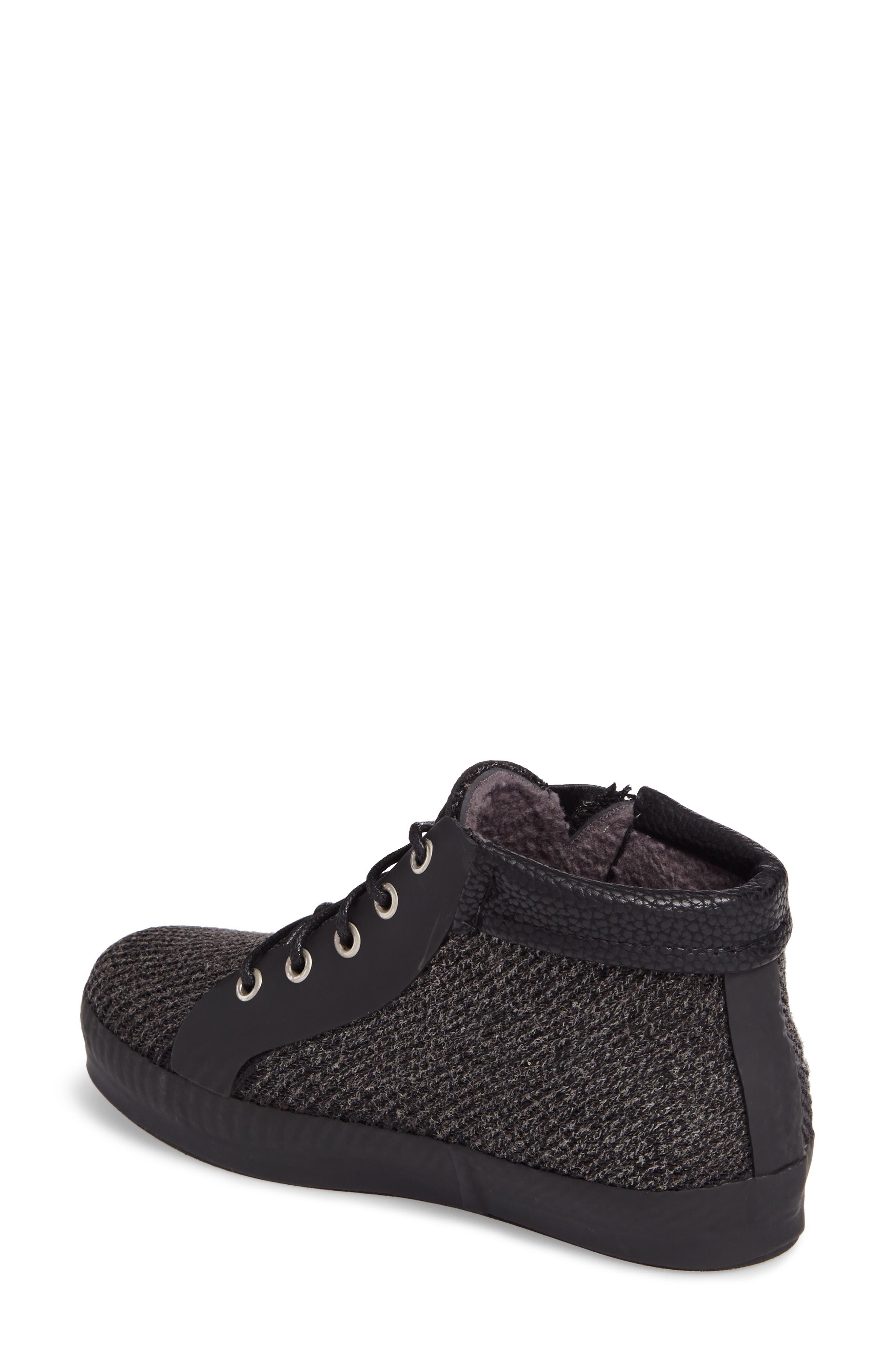 Hampton Waterproof Mid Sneaker,                             Alternate thumbnail 2, color,                             Black Fabric