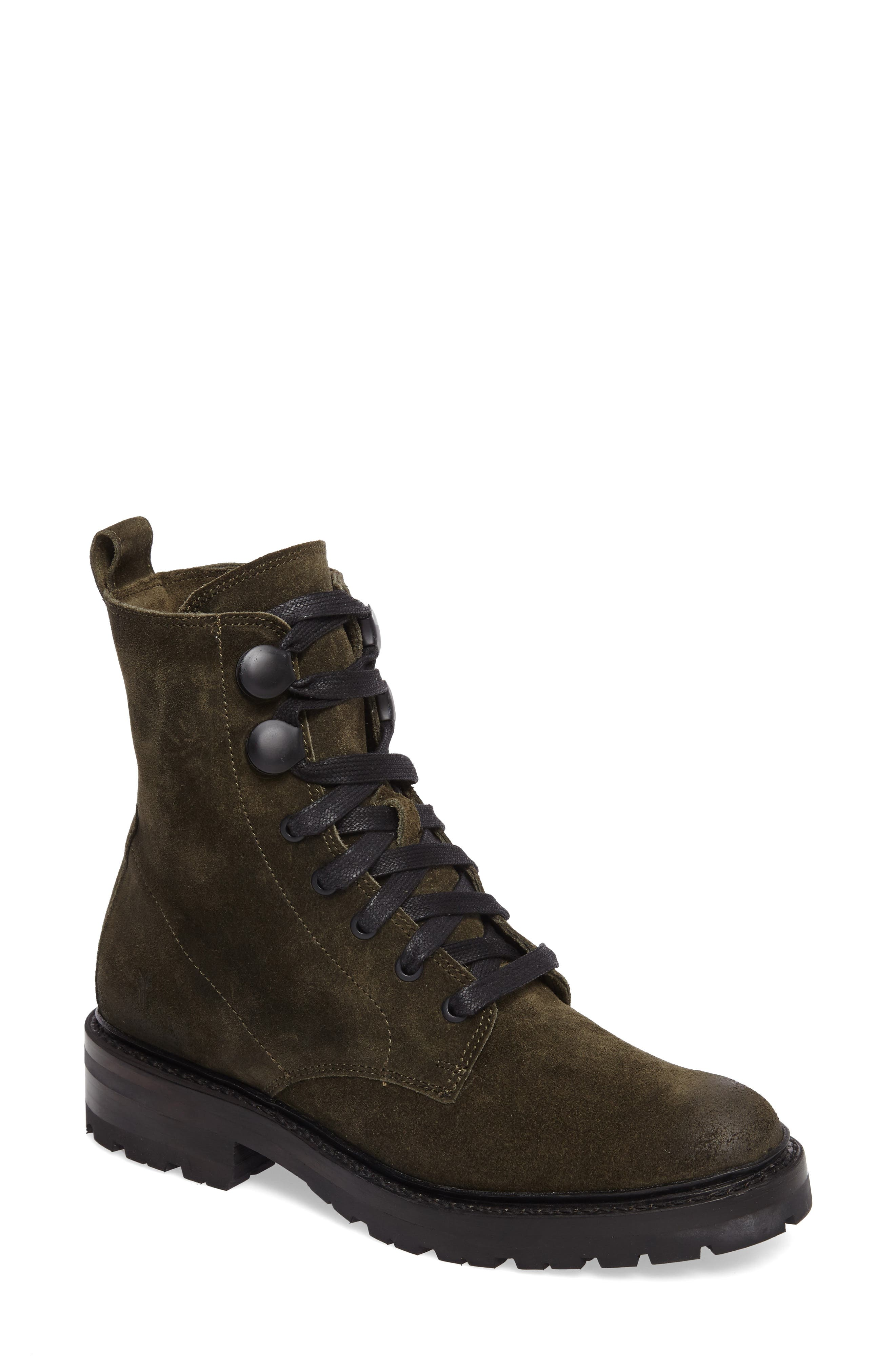 Julie Hook Combat Boot,                         Main,                         color, Forest