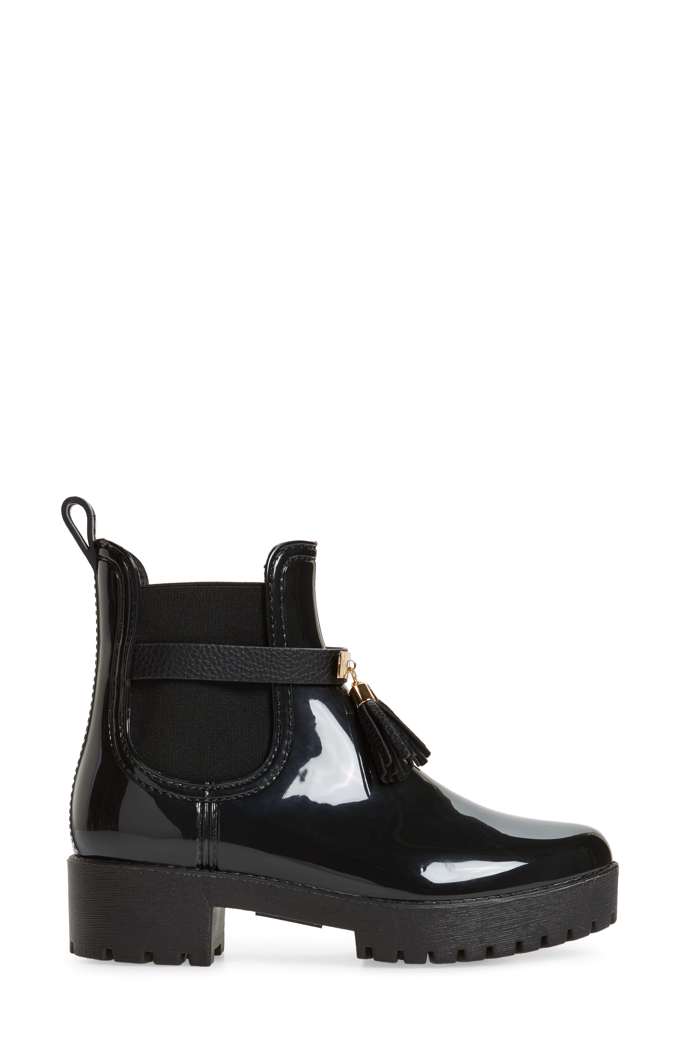 Leeds Tassel Waterproof Chelsea Boot,                             Alternate thumbnail 3, color,                             Black