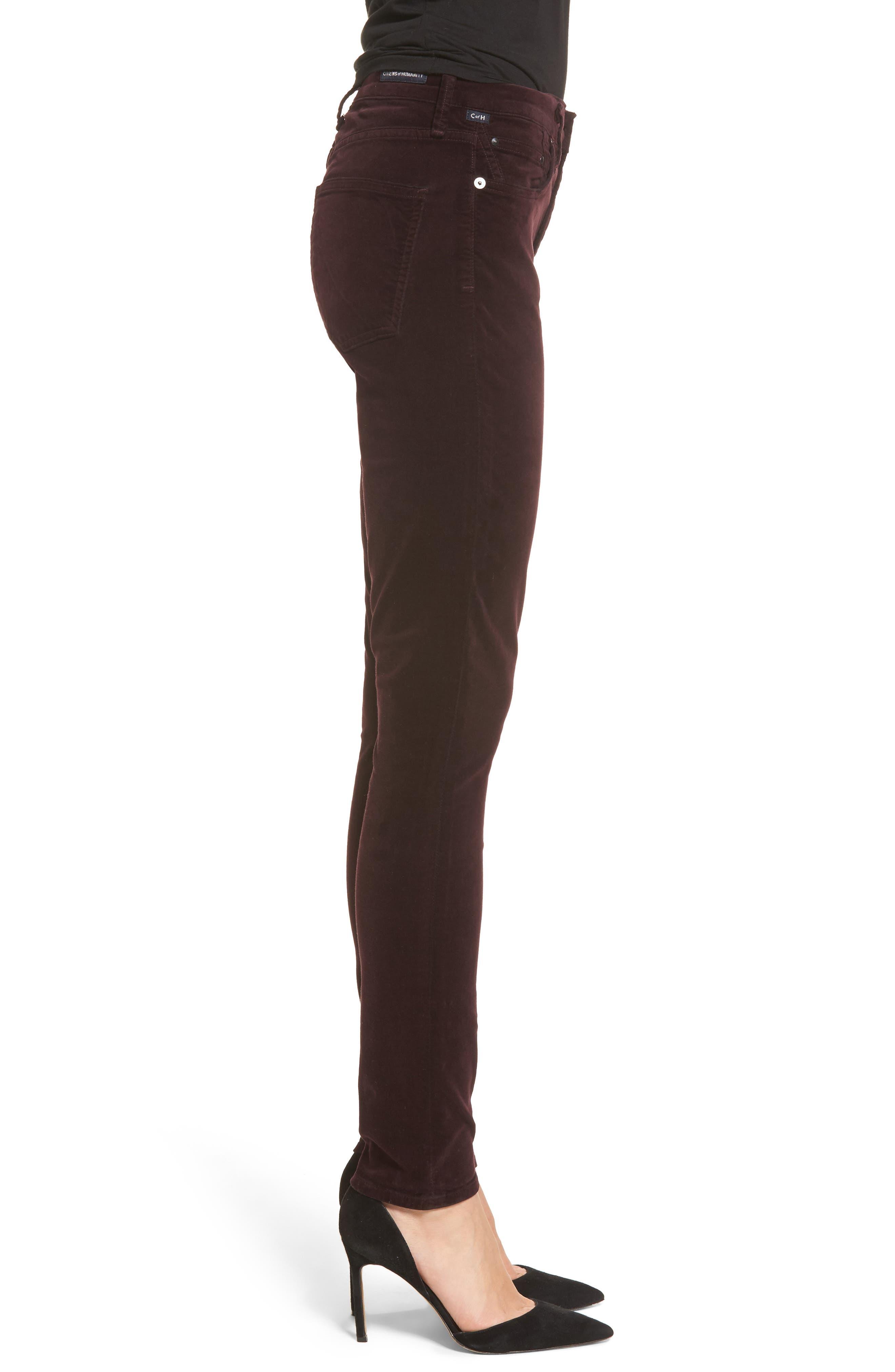 Rocket High Waist Velveteen Skinny Pants,                             Alternate thumbnail 3, color,                             Black Currant Velvet