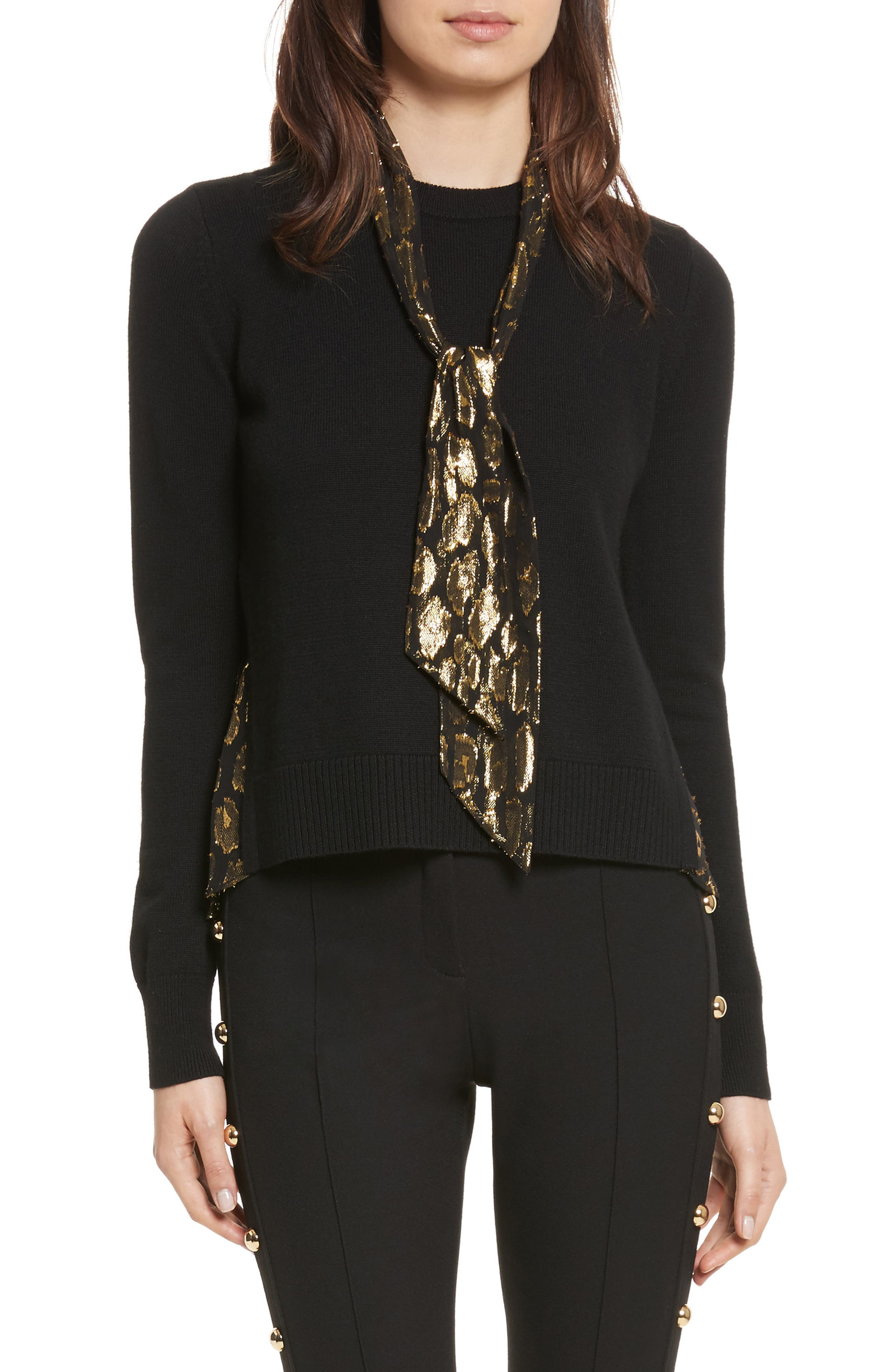 Concord V Neck Mixed Media Sweater,                         Main,                         color, Black