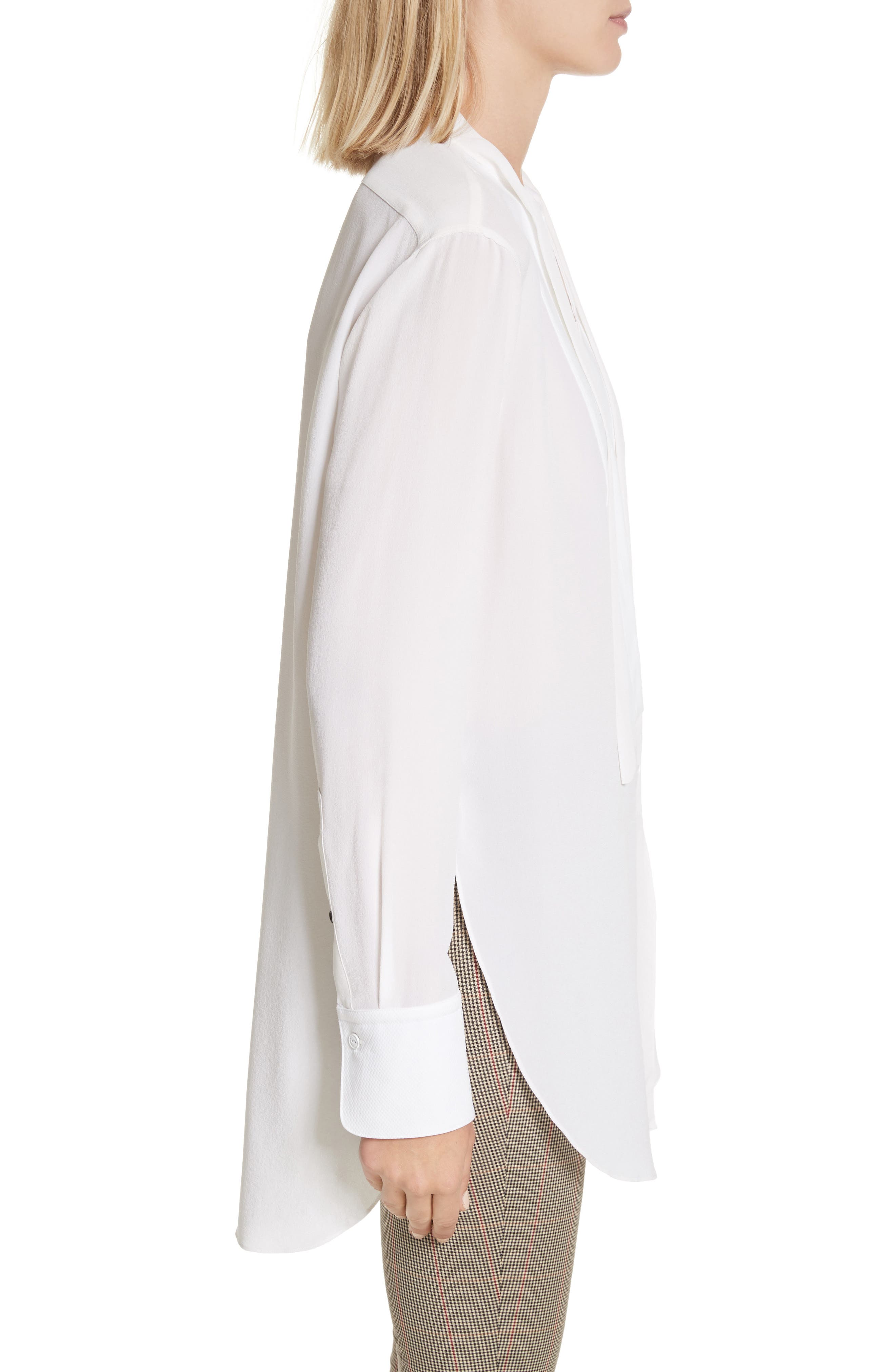 Frida Silk Tuxedo Blouse,                             Alternate thumbnail 4, color,                             White