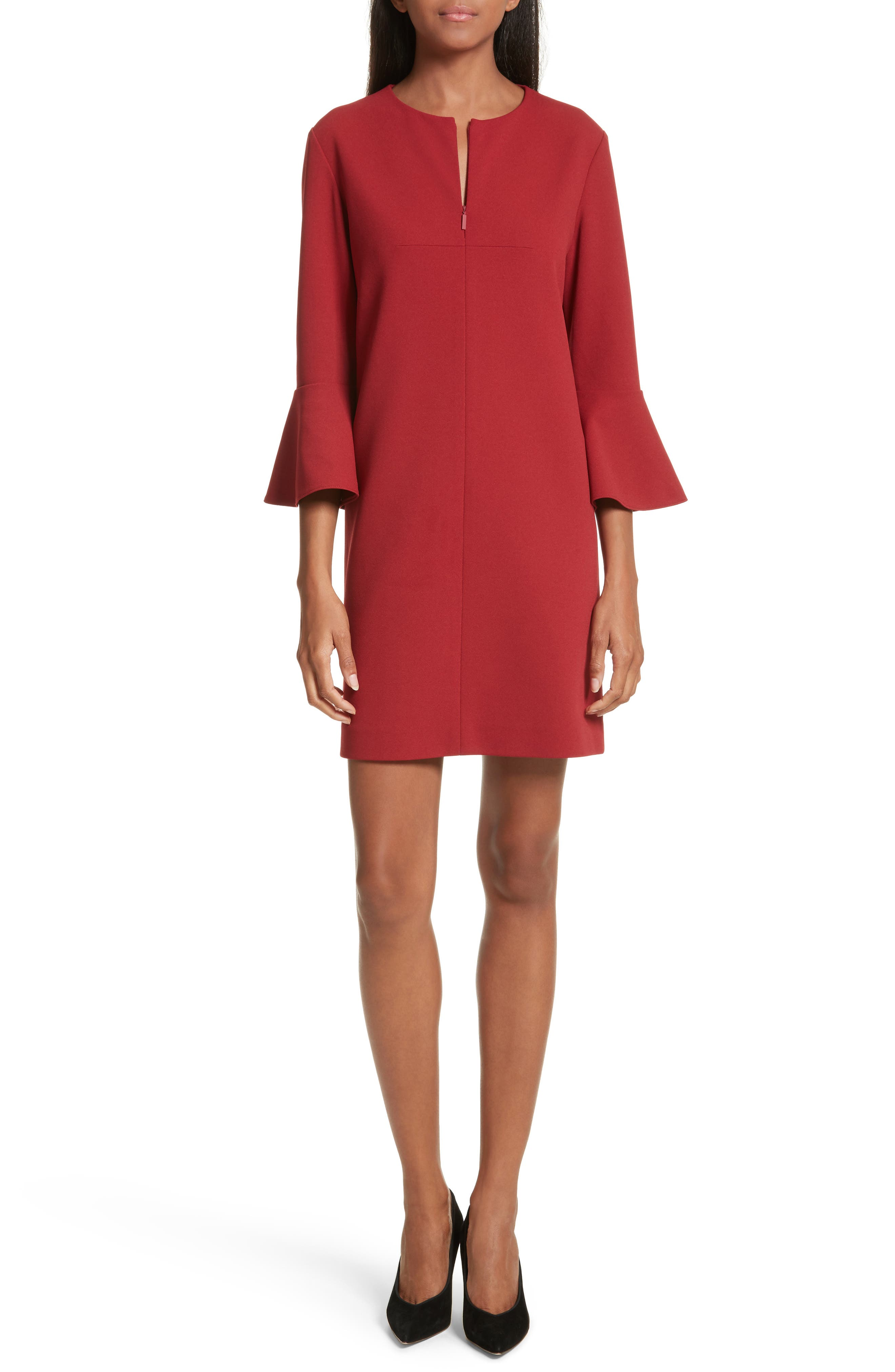 Bell Cuff Stretch Crepe Dress,                             Main thumbnail 1, color,                             Burnt Red