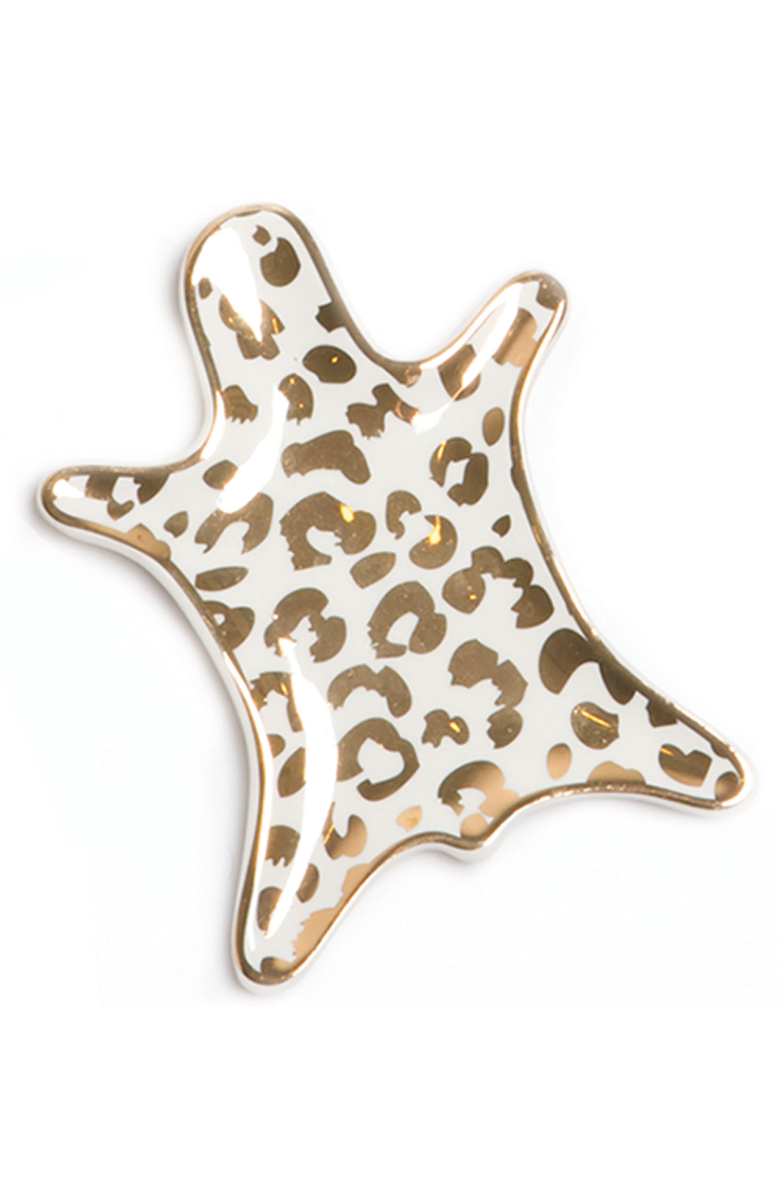 Leopard Ceramic Dish,                         Main,                         color, Gold
